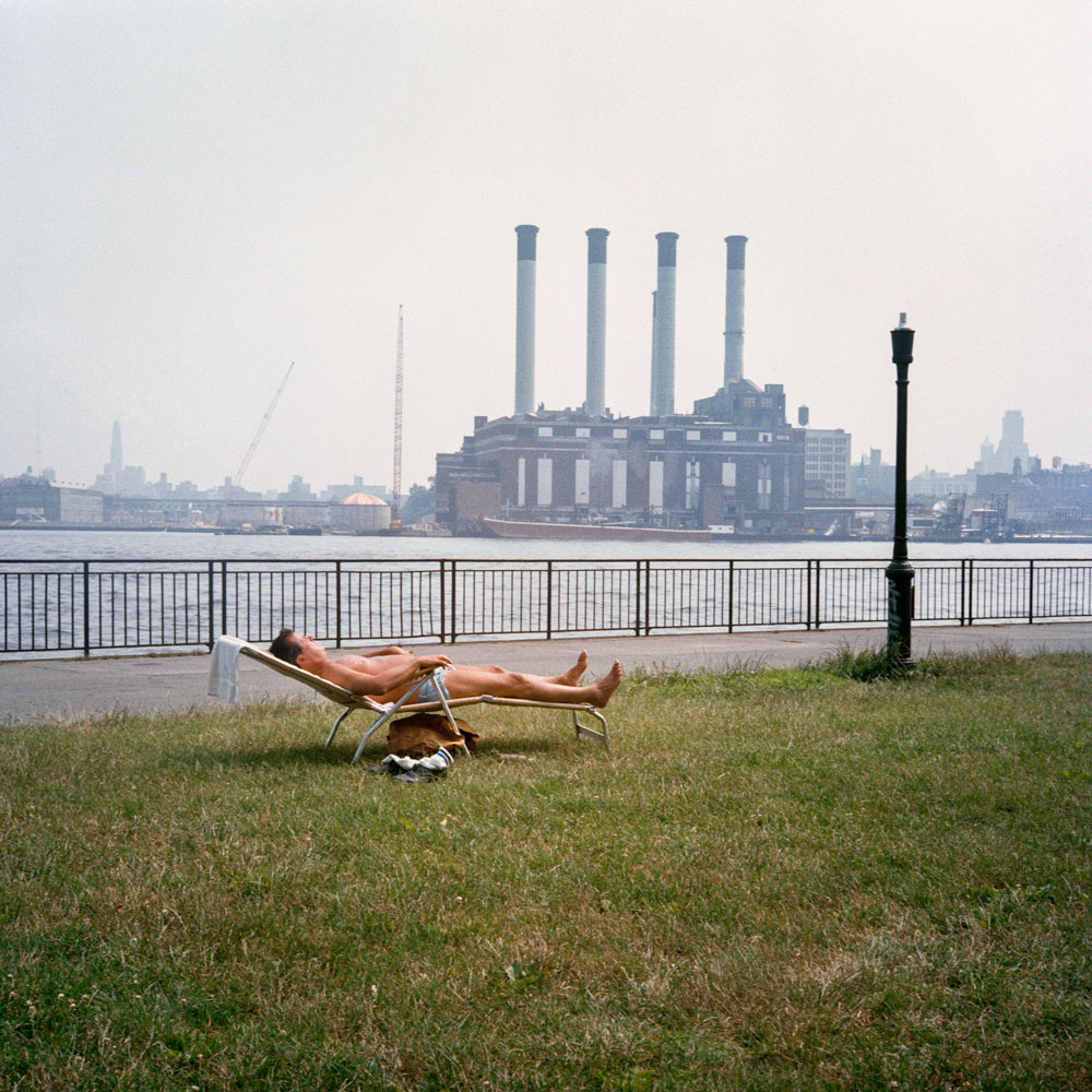 JANET DELANEY Sunbather on the East River, 1985 from New York City 1984-1987 Archival Pigment Print 15 x 15 inches, edition of 5 24 x 24 inches, edition of 2