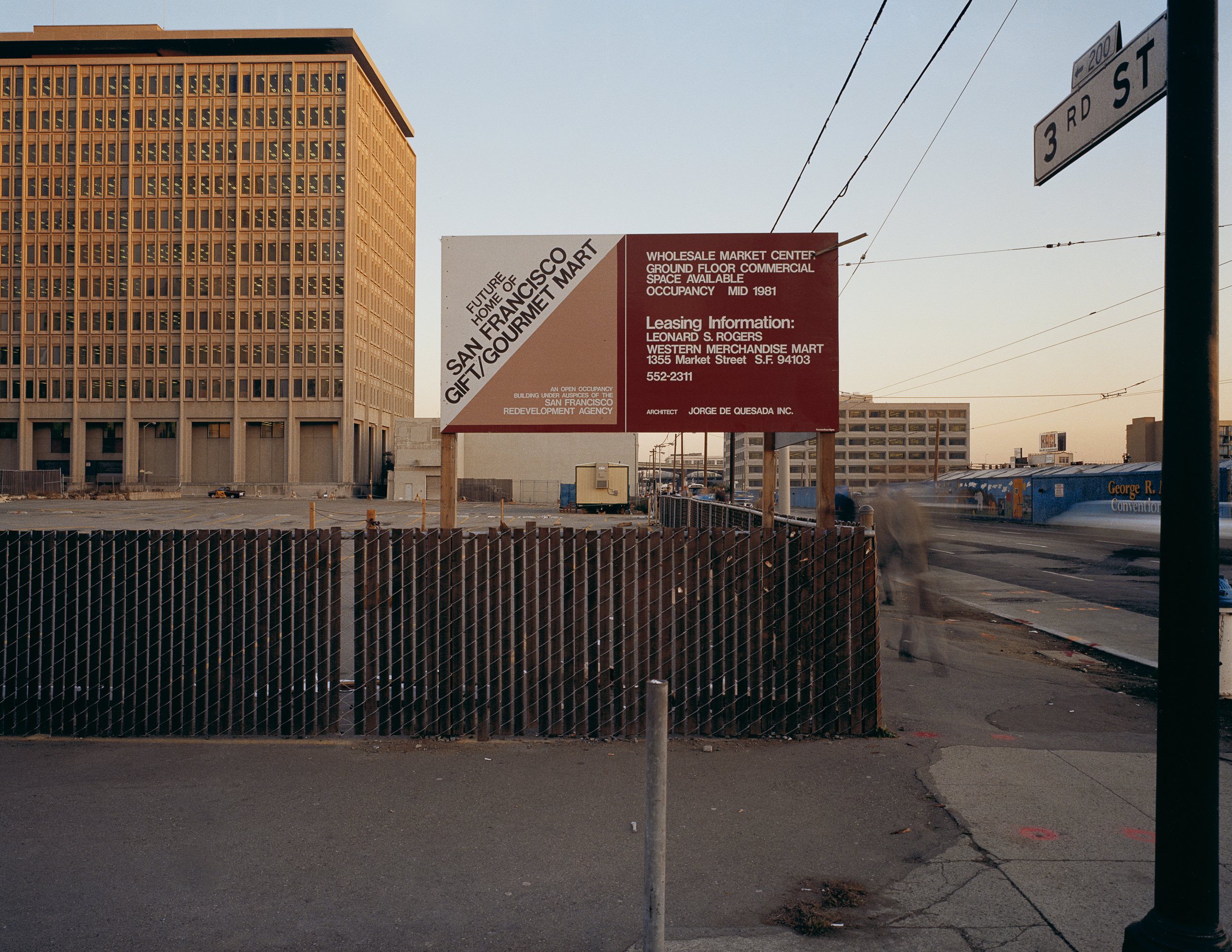 JANET DELANEY Across from the Moscone Center, 3rd at Tehama Street, 1980 Archival Pigment Print, 2016 16 x 20 inches, edition of 5 20 x 24 inches, edition of 2 30 x 40 inches, edition of 2