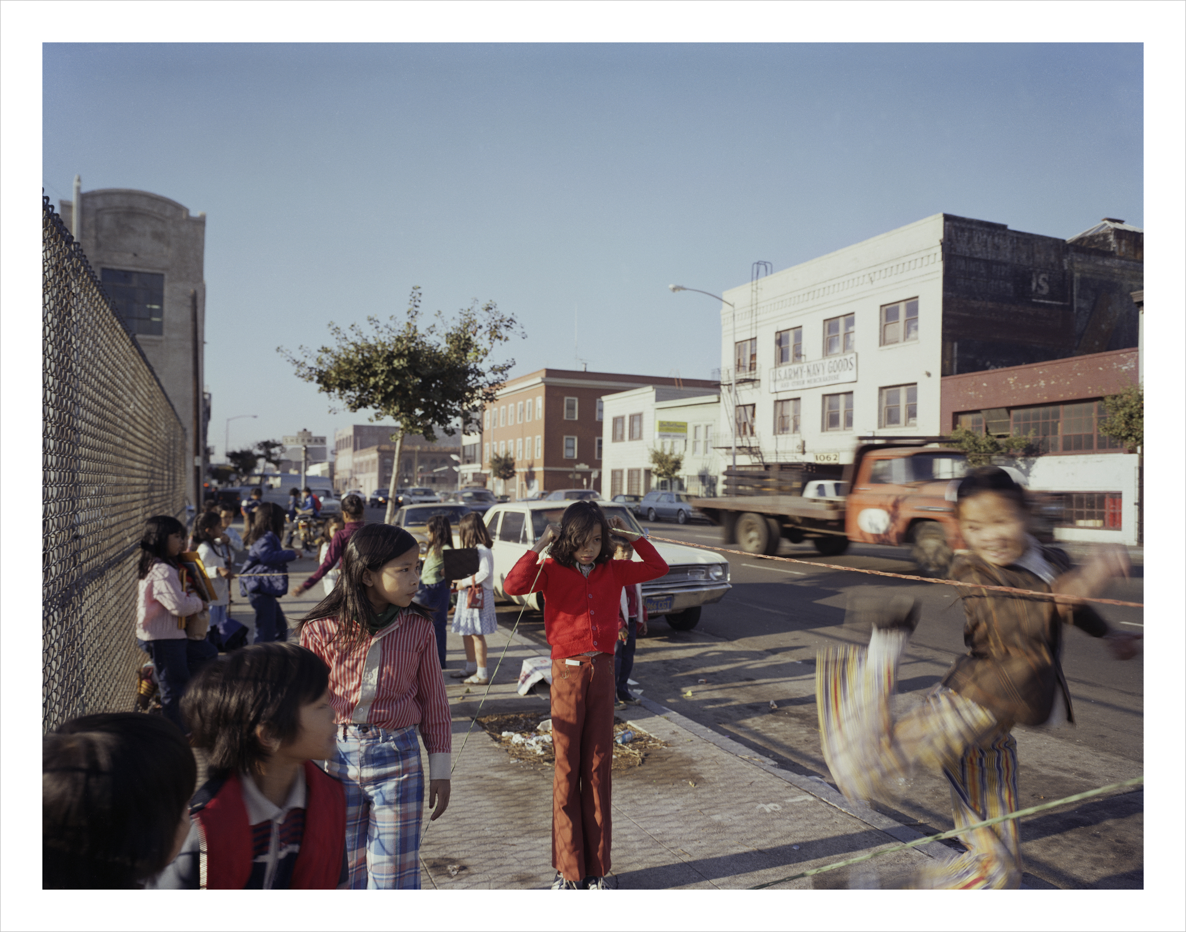 Chinese jumprope in front of Bessie Carmichael School, Folsom Street, 1980 Archival Pigment Print, 2016 16 x 20 inches, edition of 5 20 x 24 inches, edition of 2 30 x 40 inches, edition of 2