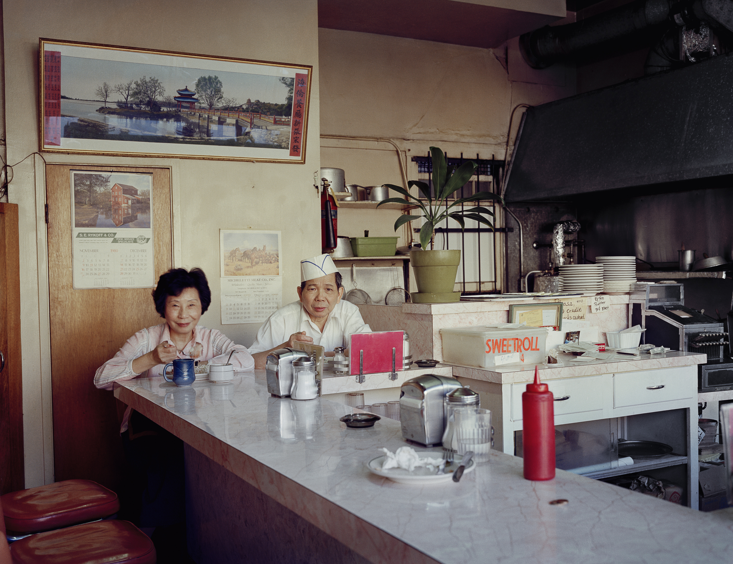 Helen and her husband Chester, at the Helen Café, 486 6th Street, 1980 Archival Pigment Print, 2016 16 x 20 inches, edition of 5 20 x 24 inches, edition of 2 30 x 40 inches, edition of 2