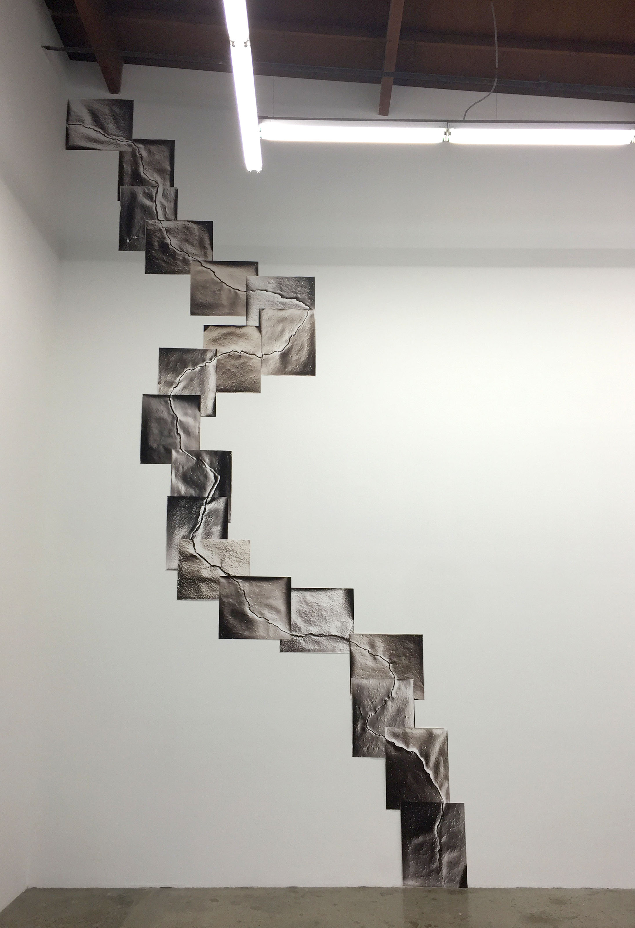 KLEA MCKENNA My Fault, 2016 Installation of 19 photographic rubbings. Unique gelatin silver photograms, split toned with sepia/selenium. 22ft x 12ft