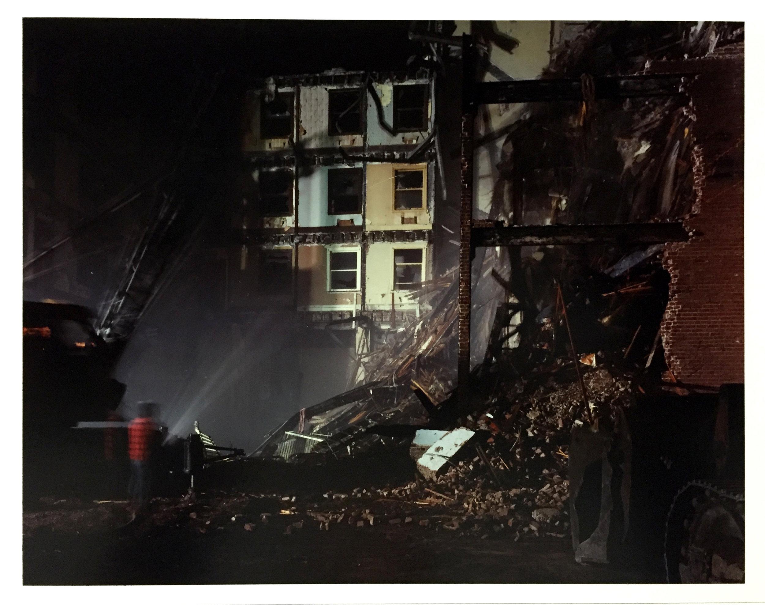 Night Deomolition of the Imperial Hotel, 4th at Minna Street, 1978 Vintage Chromogenic Print 11 x 14 inches and 16 x 20 inches