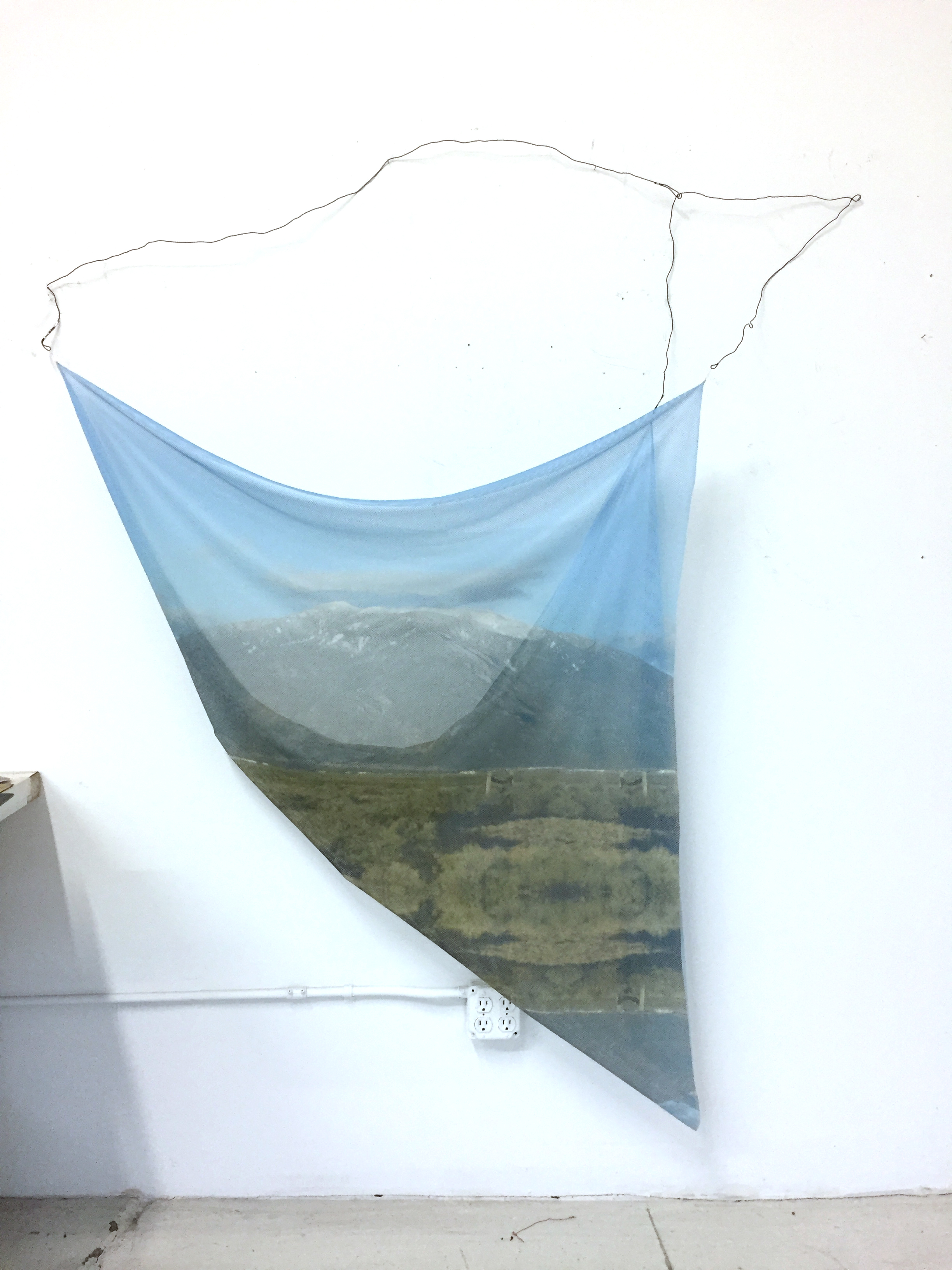 JACQUELINE SHERLOCK NORHEIM  West wind , 2017 Acrylic print on nylon, annealed wire, copper wire, solder 60 x 75 inches