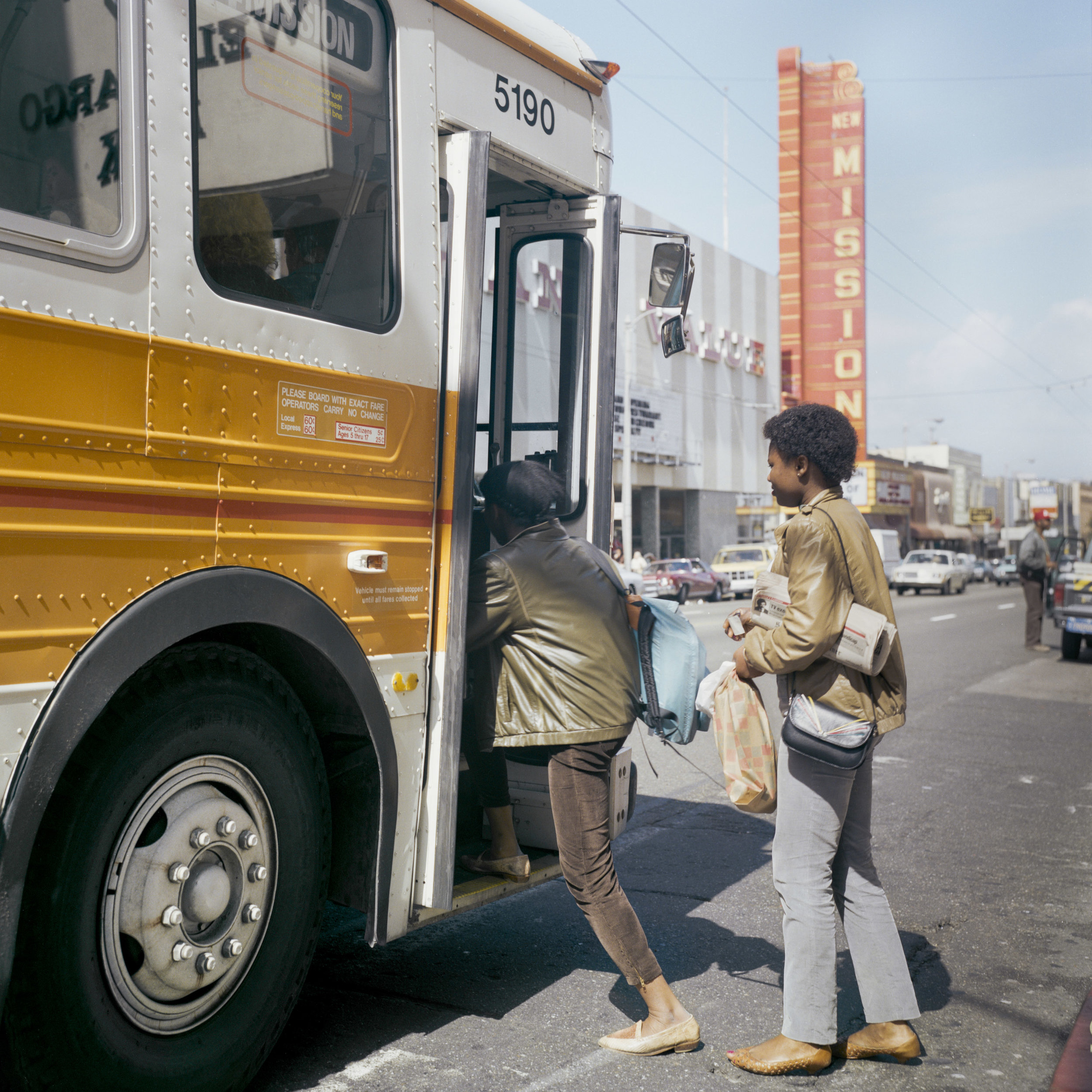 JANET DELANEY  Muni Bus, Mission Street, 1984  from  Public Matters  Archival Pigment Print, 2018  Available in 2 sizes 9 x 9 inches, edition of 7 + 2AP 15 x 15 inches, edition of 3 + 2AP