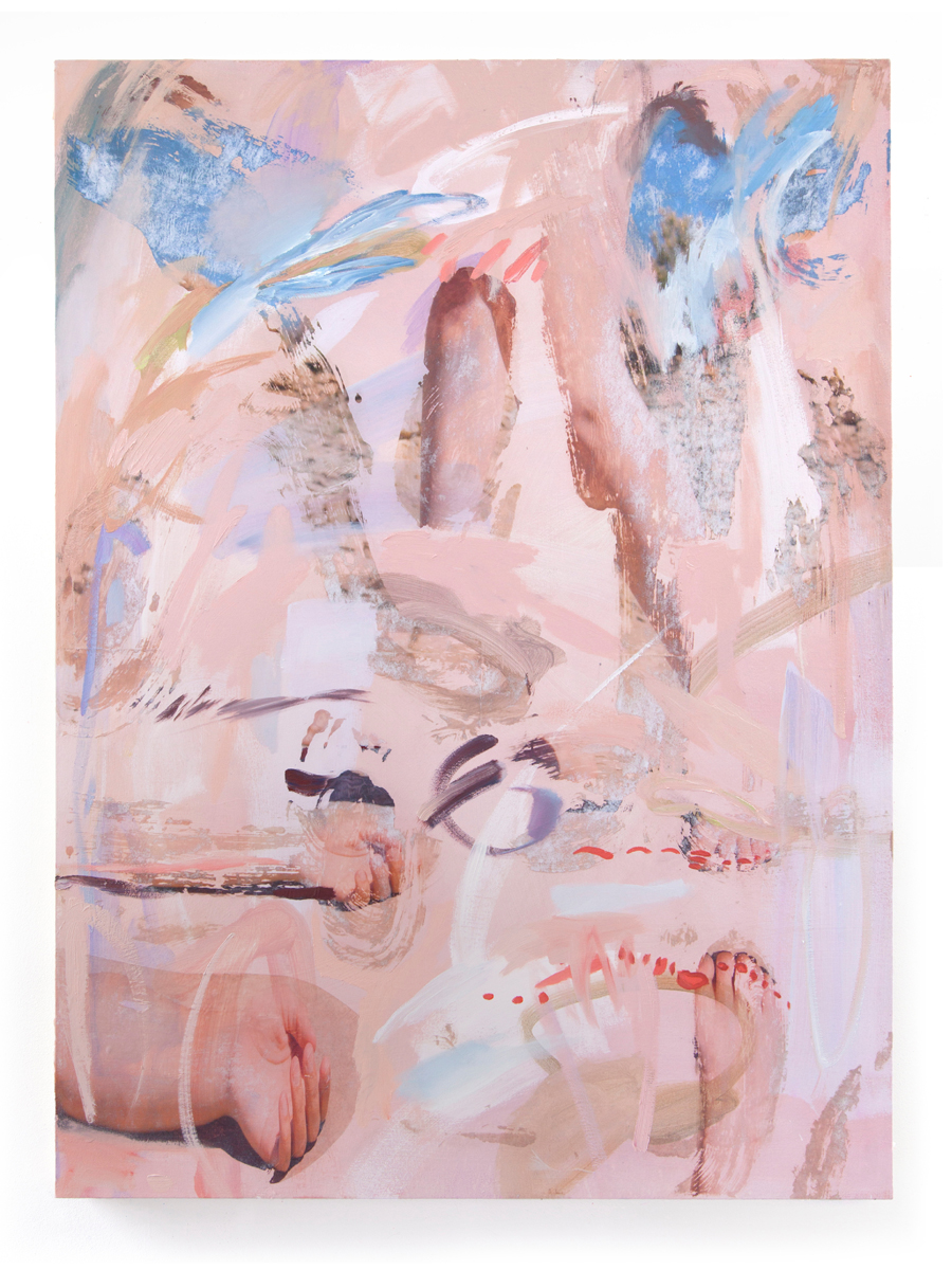 JACQUELINE SHERLOCK NORHEIM The sky is full of crooked limbs, 2016 Acrylic, oil and transfer on canvas 48 x 64 in