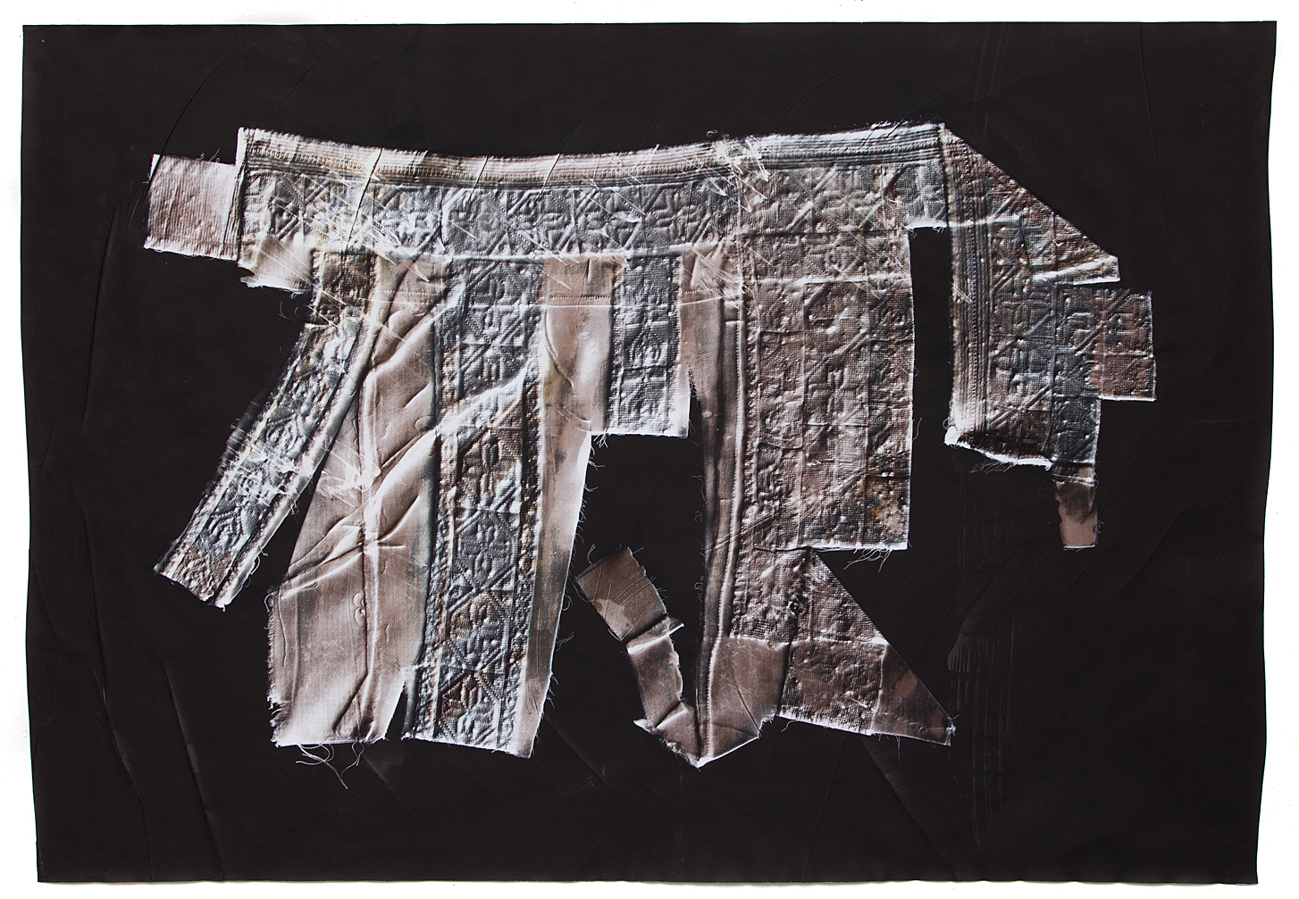 KLEA MCKENNA  Learning to Shape the Word (1) , 2018 Photographic Relief. Unique Photogram on gelatin silver fiber paper. Sepia, selenium and copper toned. Impression of a hand embroidered dress fragment. Palestine / Bedouin. 1990s. 27.5 x 39.75 inches