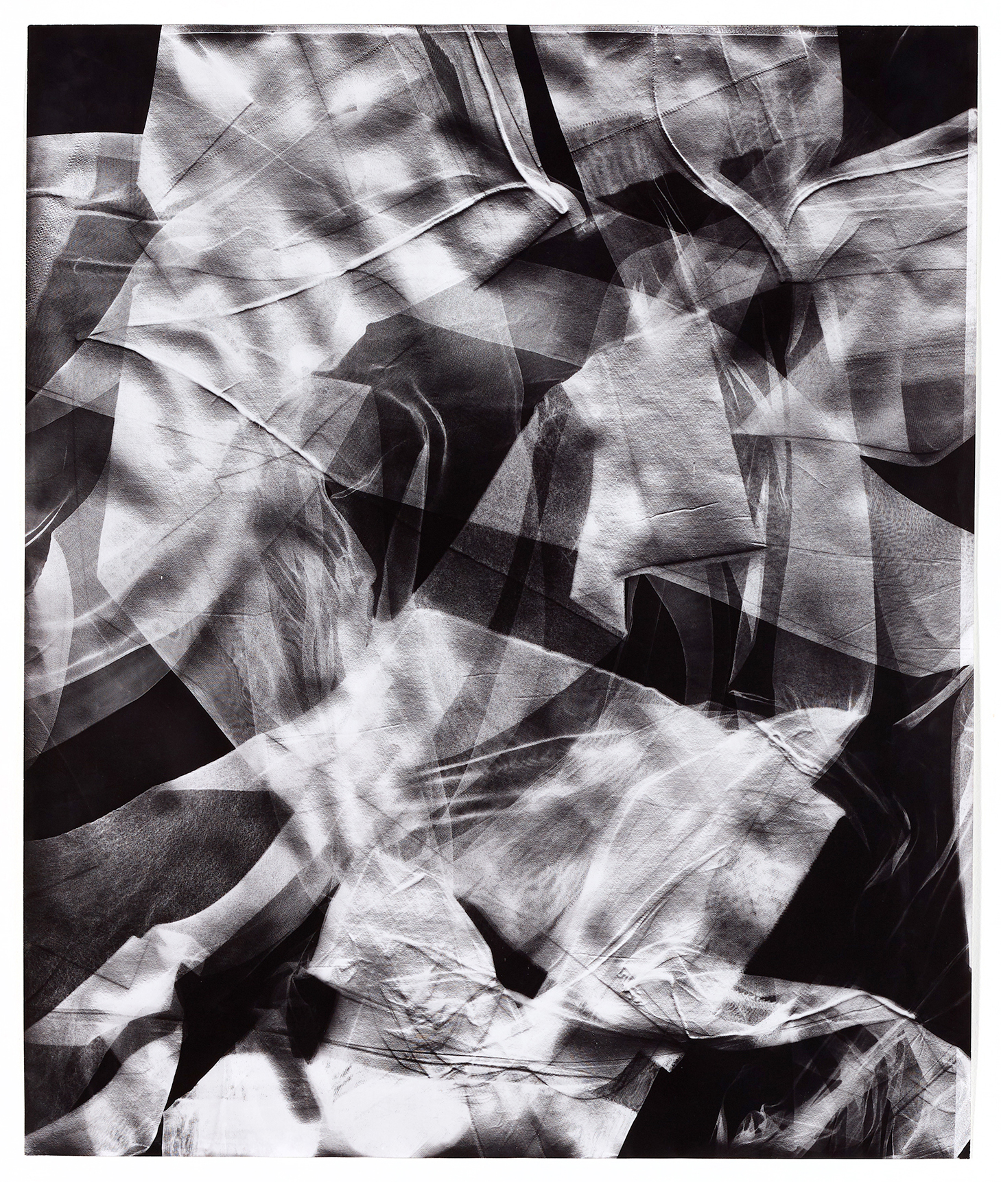 KLEA MCKENNA  Skins (2) , 2018 Photographic Relief. Unique Photogram on gelatin silver fiber paper. Selenium toned. Impression of Nylon stockings. United States. 1950s – 1960s. 24 x 20 inches