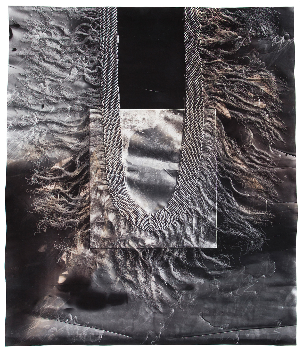 KLEA MCKENNA  Snakes in the Garden (3),  2018 Photographic Relief. Unique Photogram on gelatin silver fiber paper. Sepia and selenium toned. Impression of the silk fringe of a Manton de Manila or Piano Shawl. Spain (via China, Philippines and Mexico). 1870's 42.5 x 36 inches