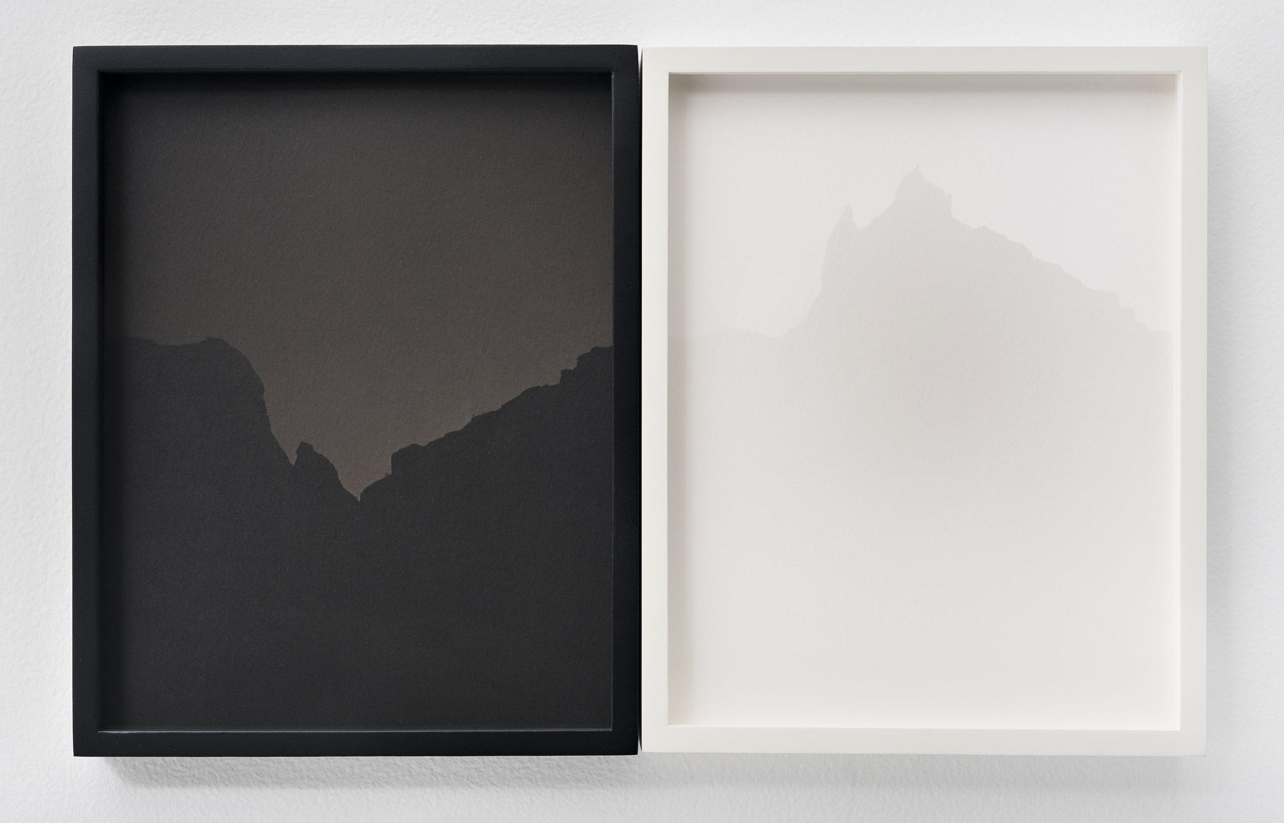 SCOTT B. DAVIS  Ridge Anza Borrego Desert,  2018 Unique paper negative palladium / platinum prints, diptych 10 x 16 in.