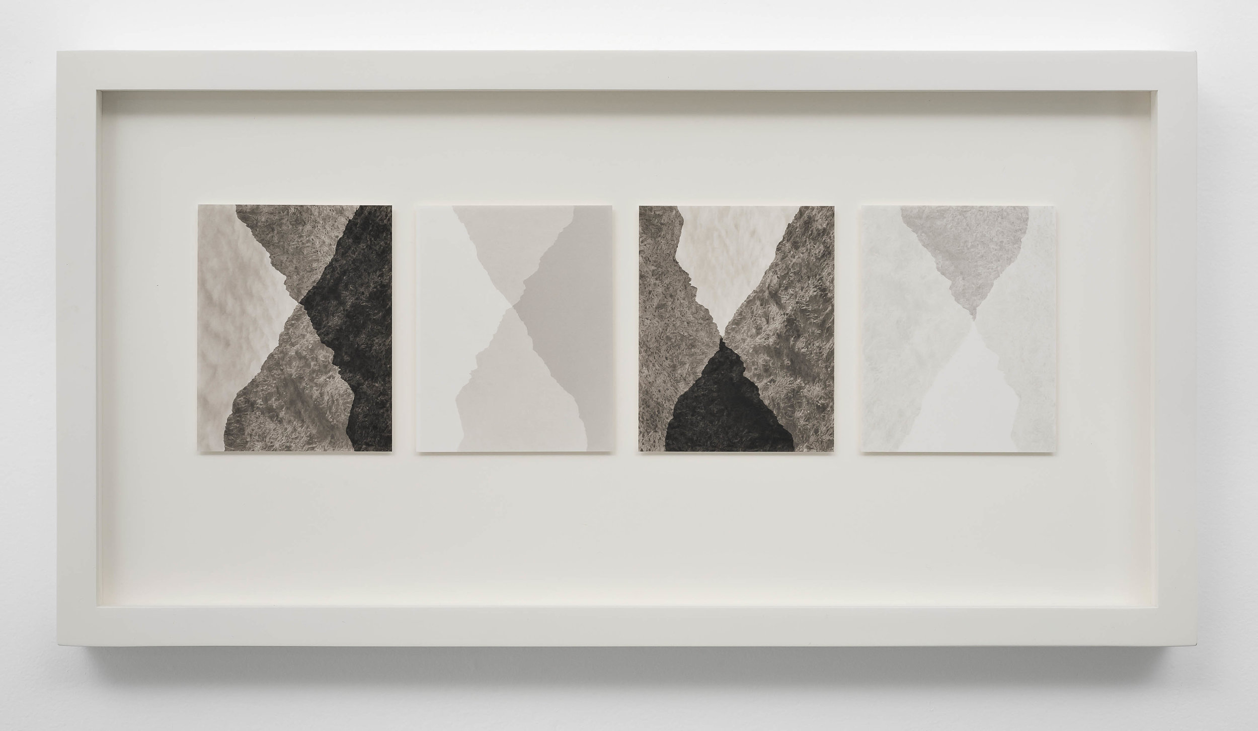 SCOTT B. DAVIS  Four Variations on Two Ridgelines , 2019 Unique paper negative palladium prints, Quartet 5 x 16 inches