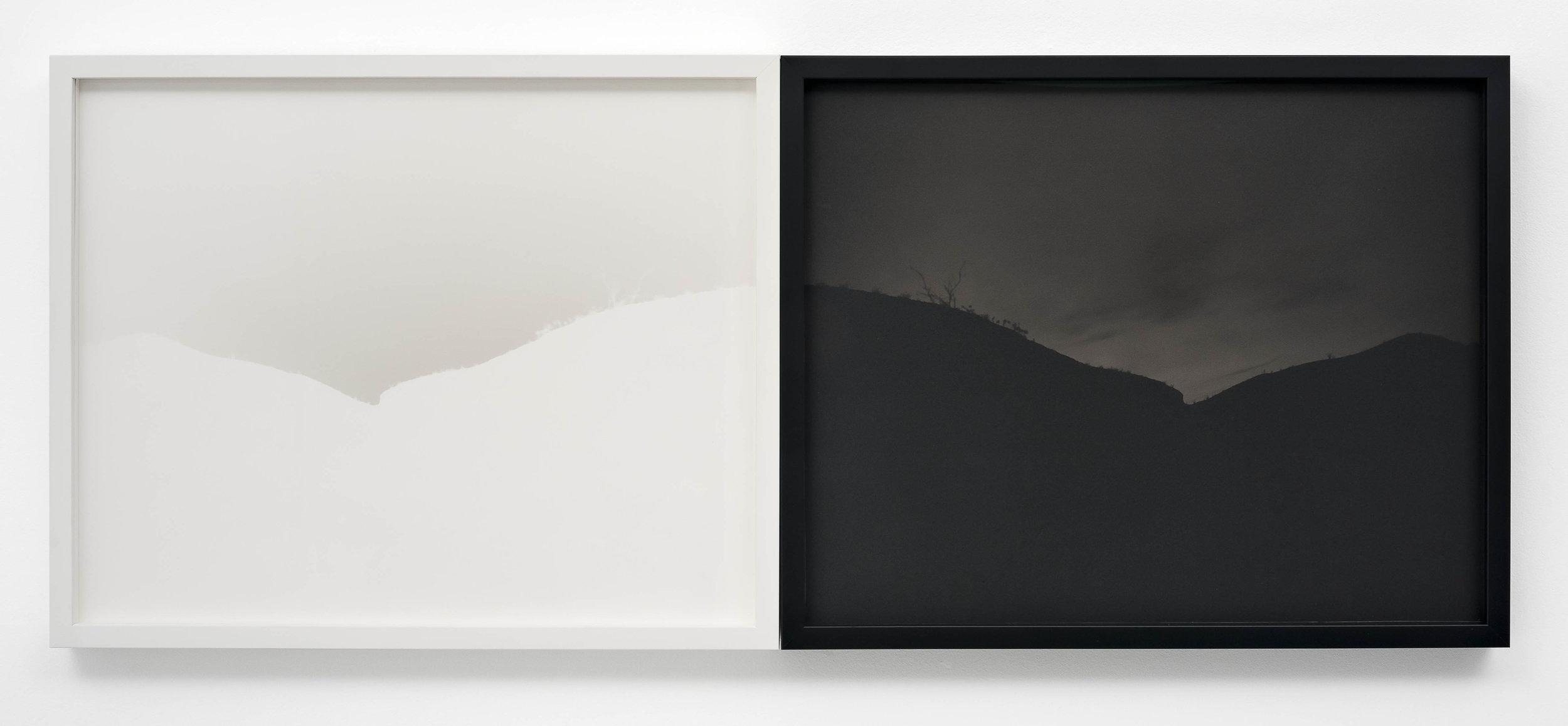 SCOTT B. DAVIS  Sandbar, Anza-Borrego Desert,  2018 Unique paper negative palladium prints, diptych 16 x 40 inches; frame: 17 x 42 inches
