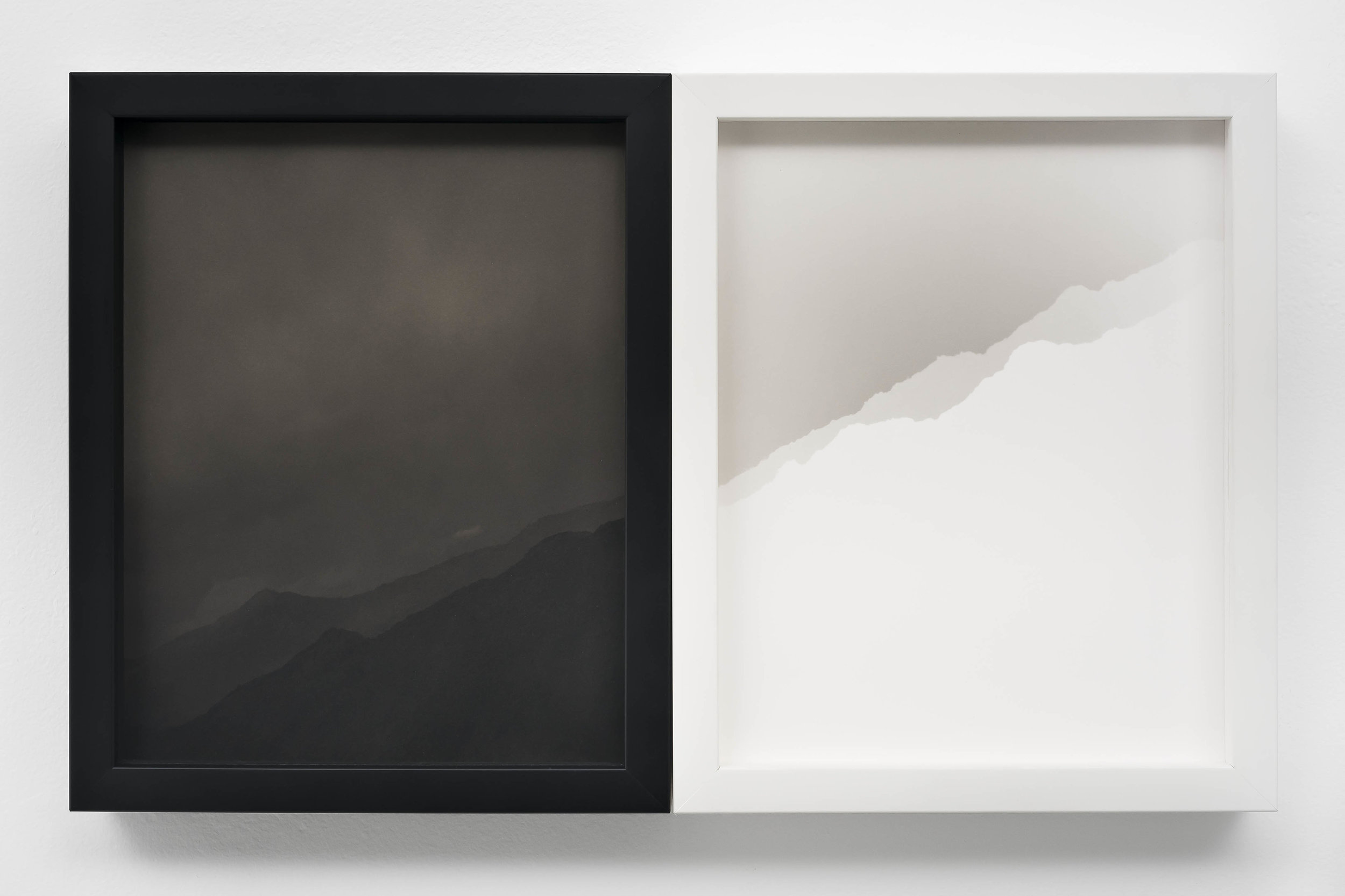 SCOTT B. DAVIS  Two Nearly Identical Ridgelines (Canyon Sin Nombre),  2019 Unique paper negative palladium prints, diptych 10 x 16 inches