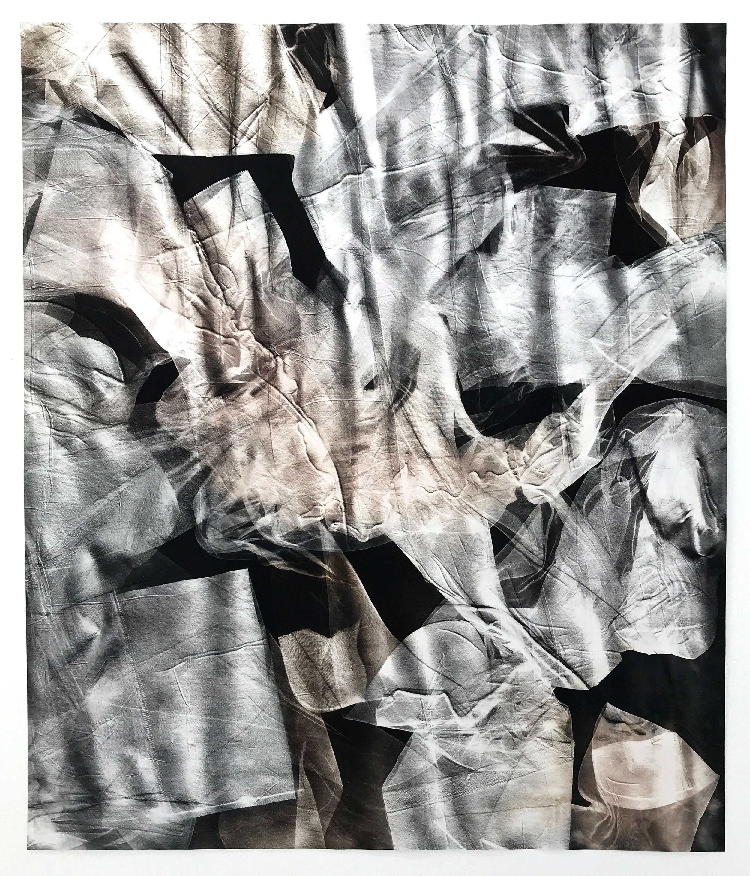 KLEA MCKENNA Skins (6), 2019 Photographic Relief. Unique Photogram on gelatin silver fiber paper. Selenium toned. Impression of Nylon stockings. United States. 1950s – 1960s. 24 x 20 inches
