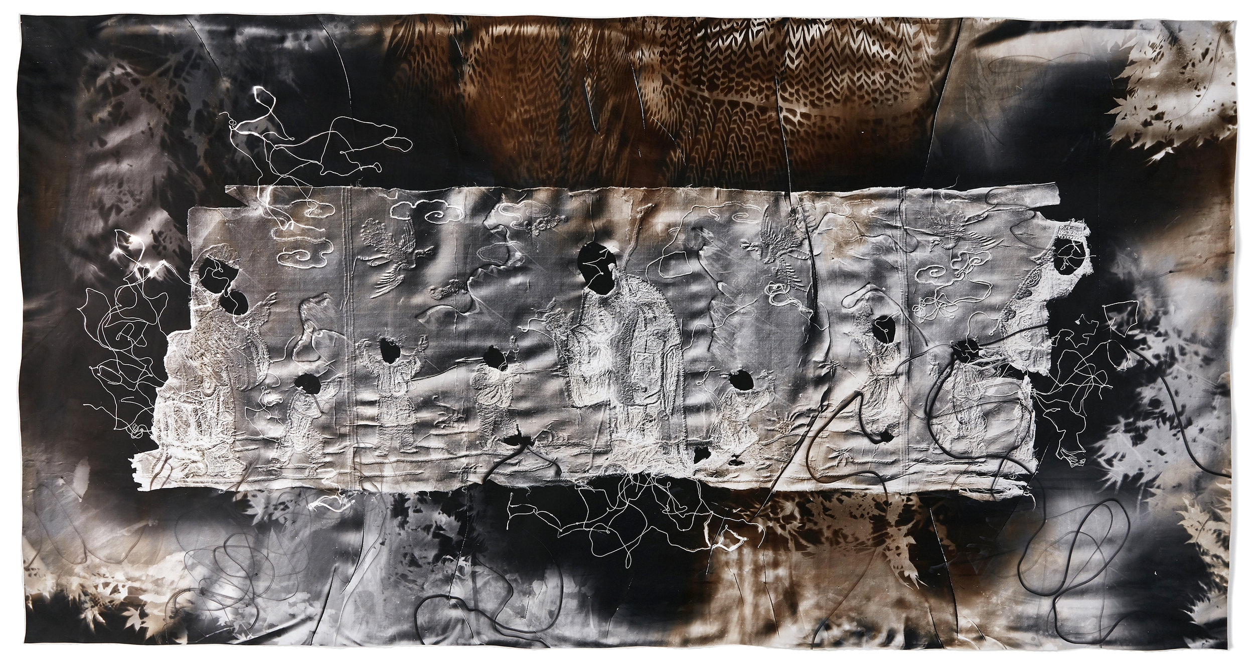 KLEA McKENNA  Faceless Immortals (1) , 2019 Unique photographic relief. Photogram on gelatin silver fiber paper. Sepia and Selenium toned. Impression of a fragment of silk tapestry embroidered with gold-wrapped thread. China. Qing Dynasty - circa 1820-1860s. 42 x 80 in; frame: 46.5 x 84.5 in