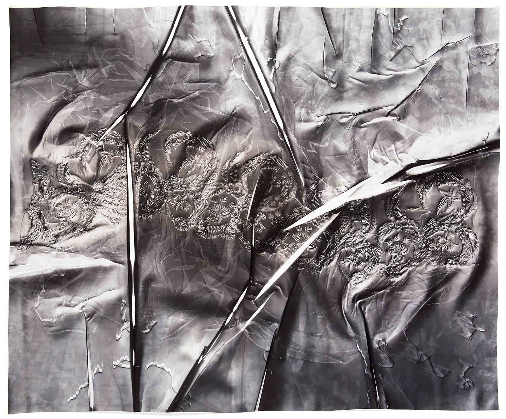 KLEA McKENNA  Life Hours (6),  2019 Photographic Relief. Unique Photogram on gelatin silver fiber paper toned with Sepia and Selenium. Impression of hand embroidery on a sheer muslin skirt fragment. England. Circa 1830 35.5 x 42.5 in; frame: 40 x 47 in