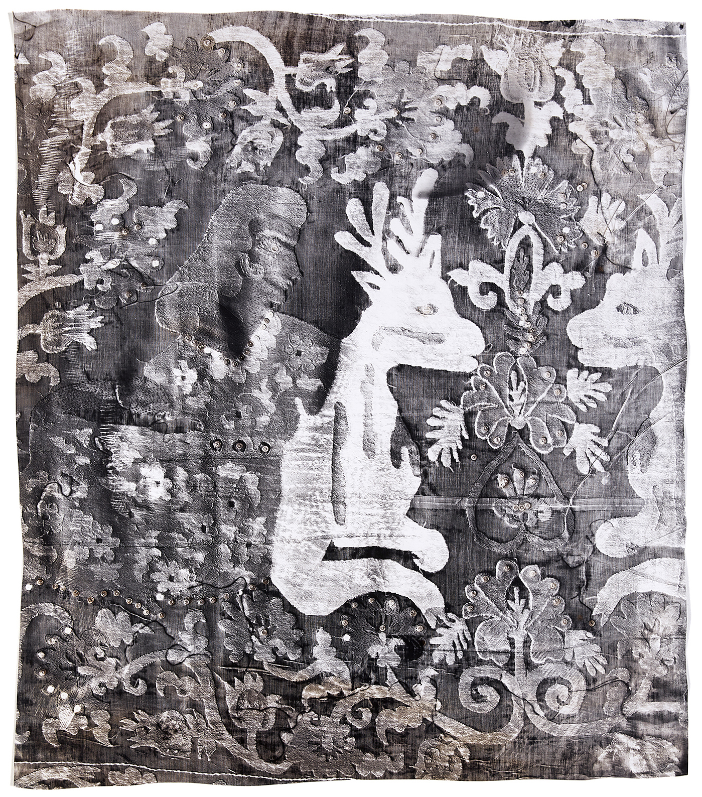 KLEA McKENNA  Prophecy , 2019 Unique photographic relief. Photogram on gelatin silver fiber paper. Copper and Sepia toned. Impression of a hand embroidered tapestry or Suzani. Uzbekistan, Boysun region. Circa 1960's. 42.5 x 37.5 in; frame: 47 x 42 in