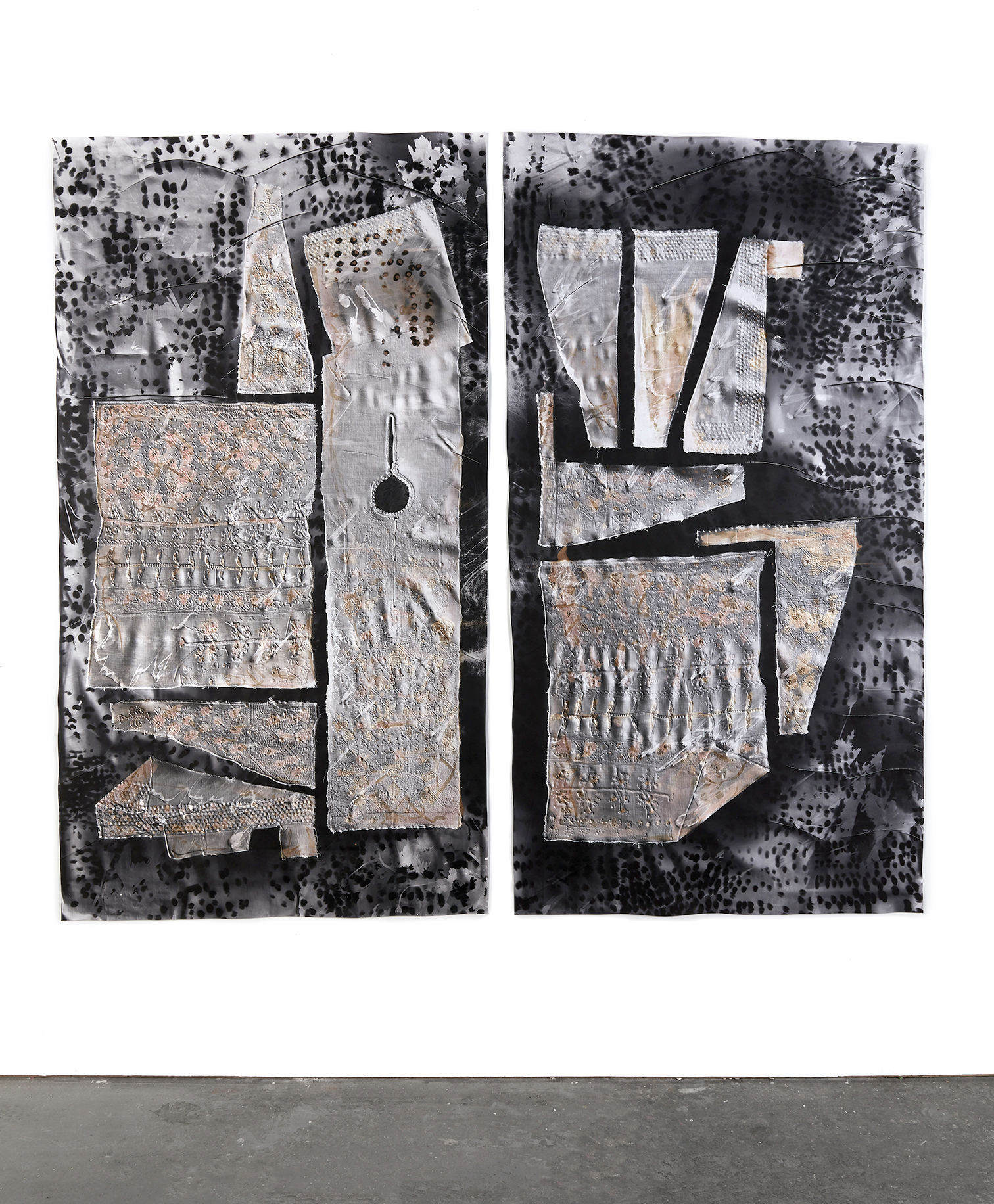 KLEA McKENNA  Sweeter than Salt (2) , 2019 Photographic Relief. Unique Photogram on gelatin silver fiber paper. Toned with Copper, Sepia and Selenium. Impression of every piece of a woman's traditional tunic from Swat Valley. Pakistan. 1950s. Overall 79 x 89 in, diptych