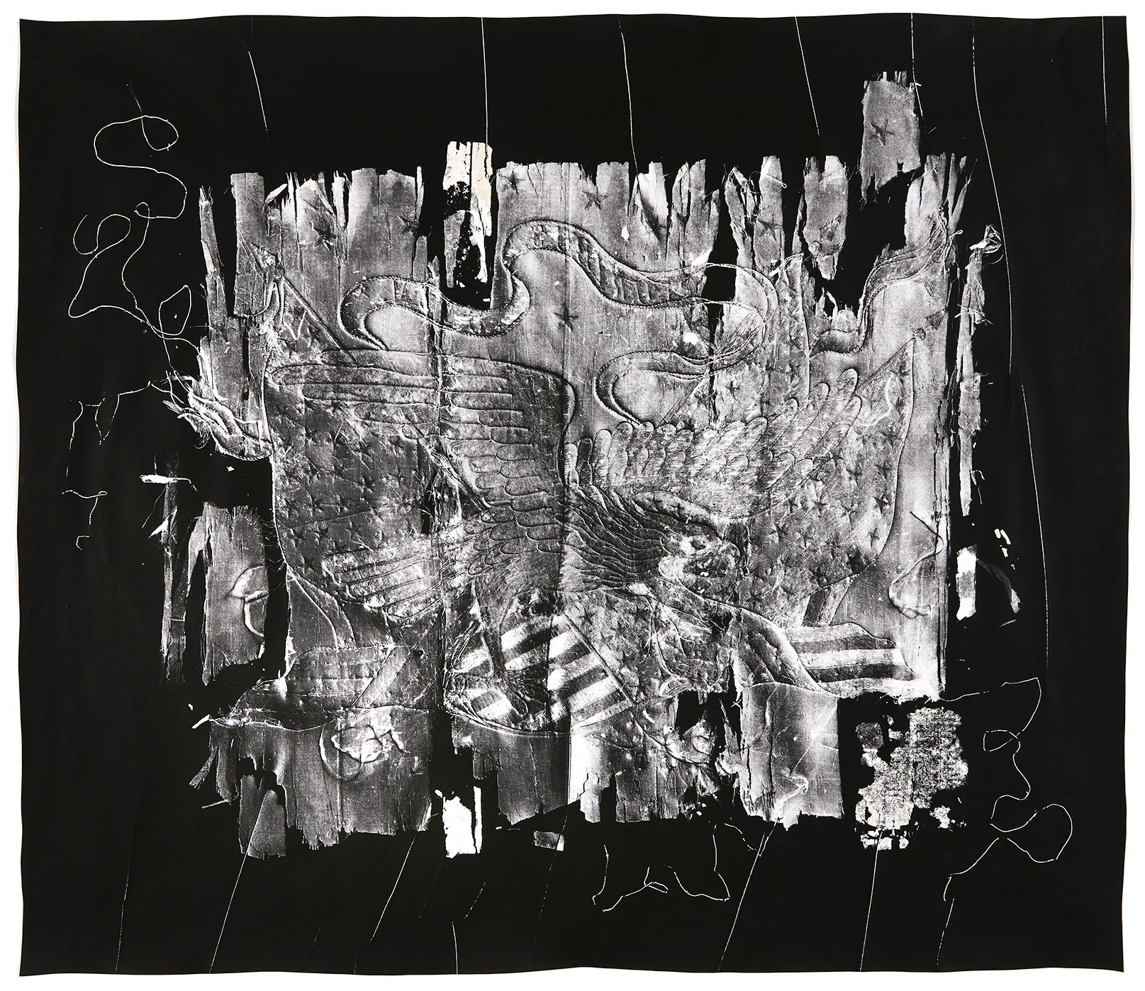 """KLEA McKENNA  Untitled,  2019 Unique photographic relief. Photogram on gelatin silver fiber paper. Impression of a handmade silk """"Trapunto"""" Manufactured by The George Washington Co. for sale to American service men. Yokohama, Japan, circa 1890's 35.5 x 41.5 in; frame: 40 x 46 in"""