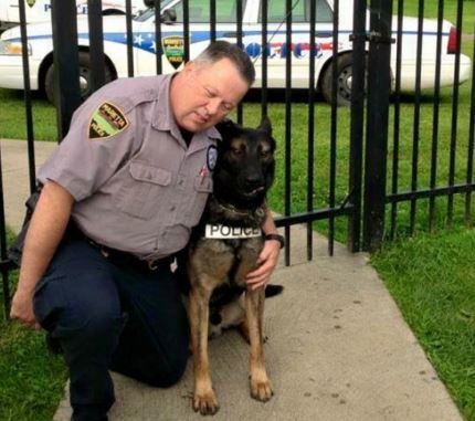 Officer Matthew Hickey and Ajax;  Photo: GoFundMe Page