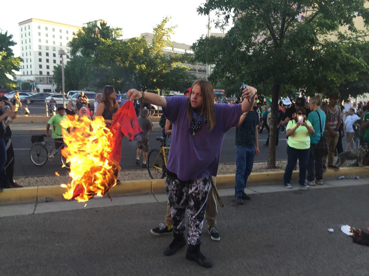 Protester in Albuquerque, NM; Photo: Russell Contreras/AP