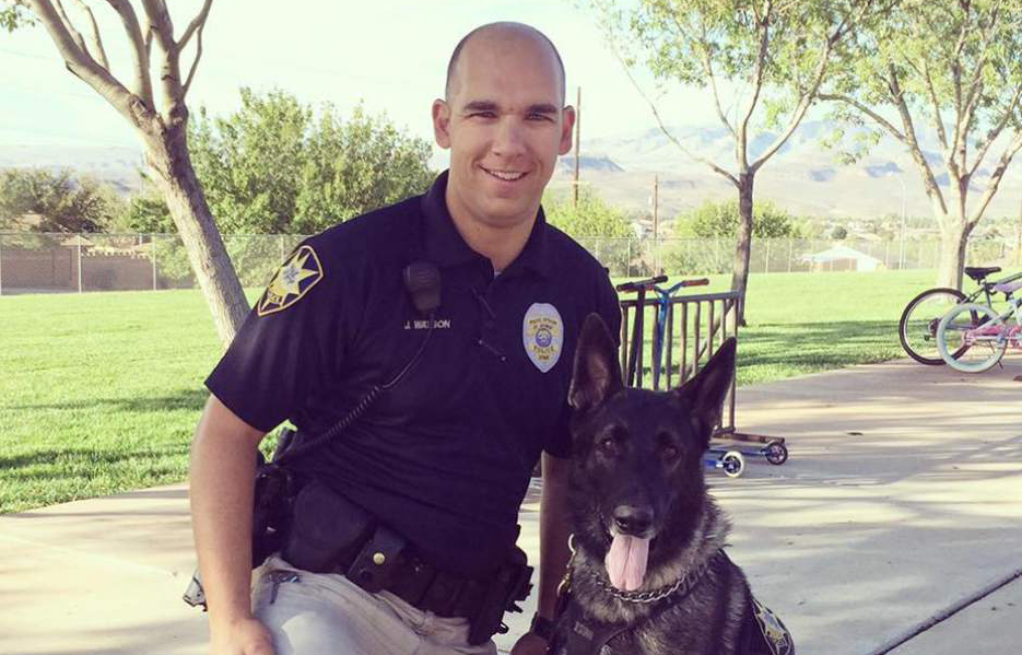 Officer Joe Watson and Rossko;  Photo: St. George Police Dept.