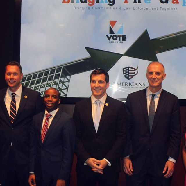 AISLE president Scott G. Erickson, Vote America Now CEO Chris Prudhome, Rep. Scott Taylor, and Mark Holden at #bridgingthegap