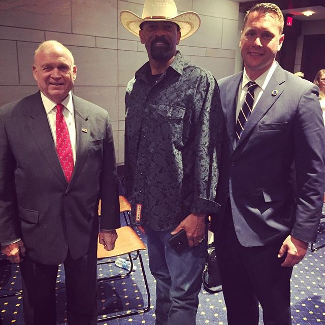 Bill Livingood, fmr Sergeant at Arms of the US House, Milwaukee Sheriff David Clarke, and AISLE president Scott G. Erickson