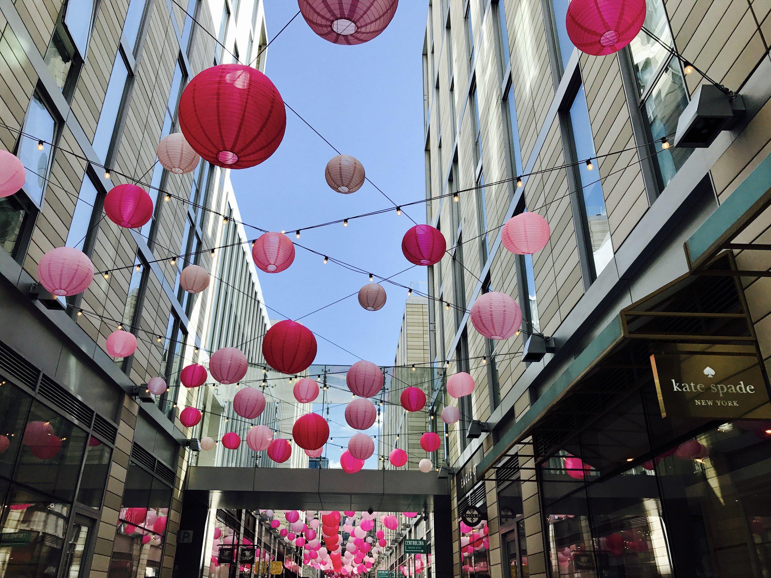Pink lanterns in D.C. City Center.