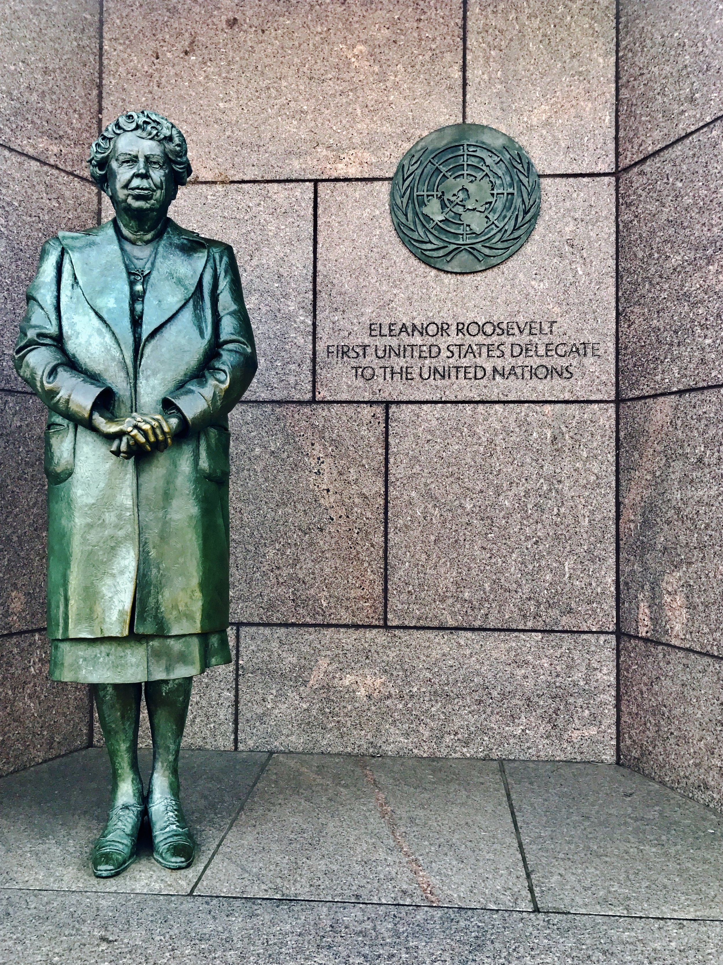 Eleanor Roosevelt's statue at the Franklin Delano Roosevelt Memorial.