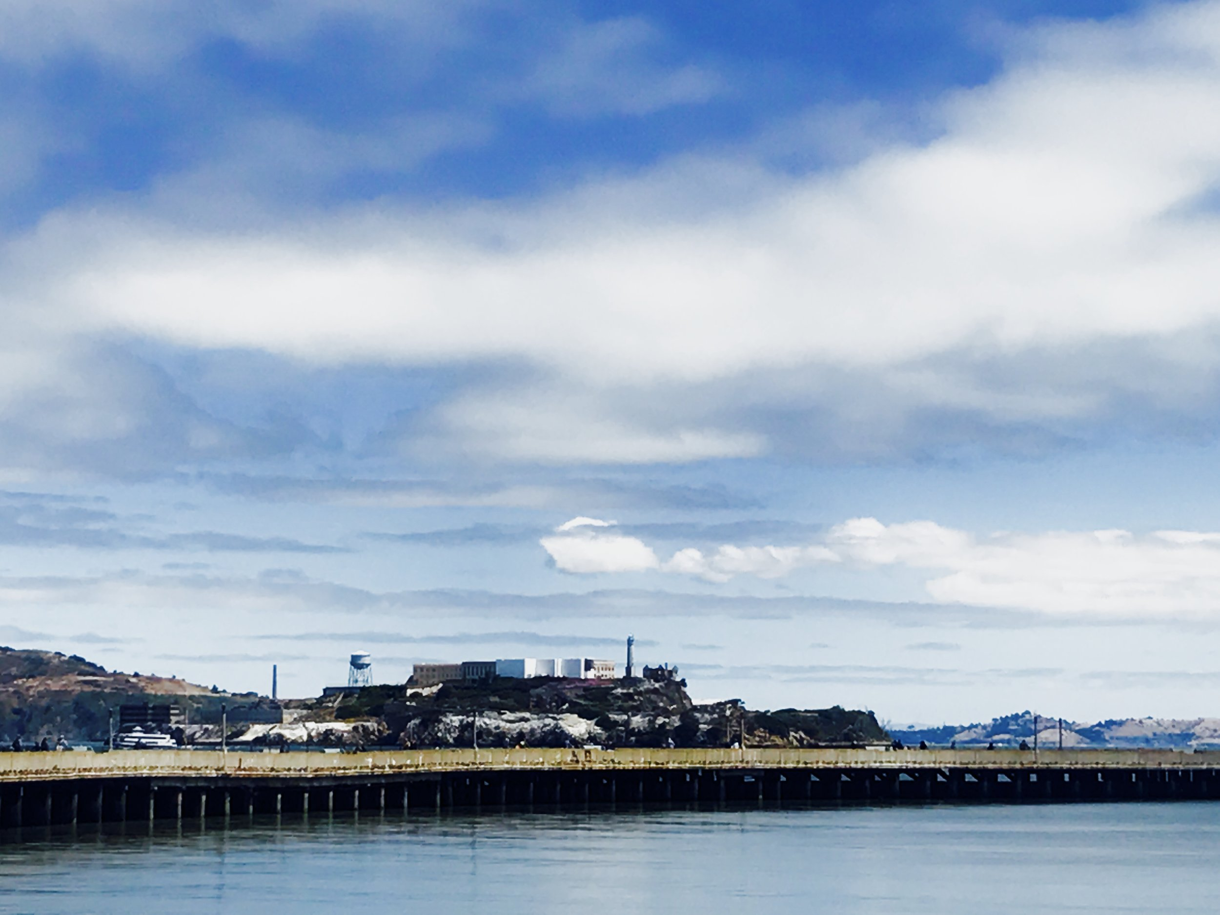 View of Alcatraz from a dock.