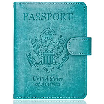 WALNEW  | Passport Holder Cover Case RFID Passport Travel Wallet - Blue |  $7.99