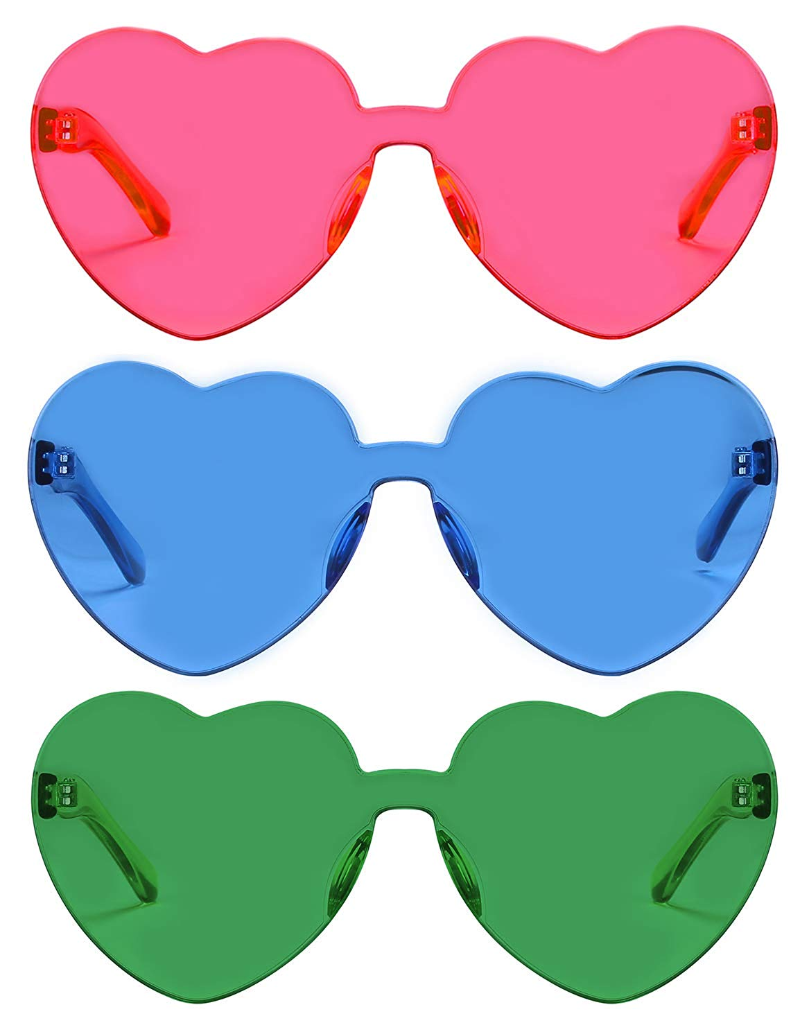 RTBOFY  — One Piece Heart Shaped Rimless Sunglasses —  $16.99