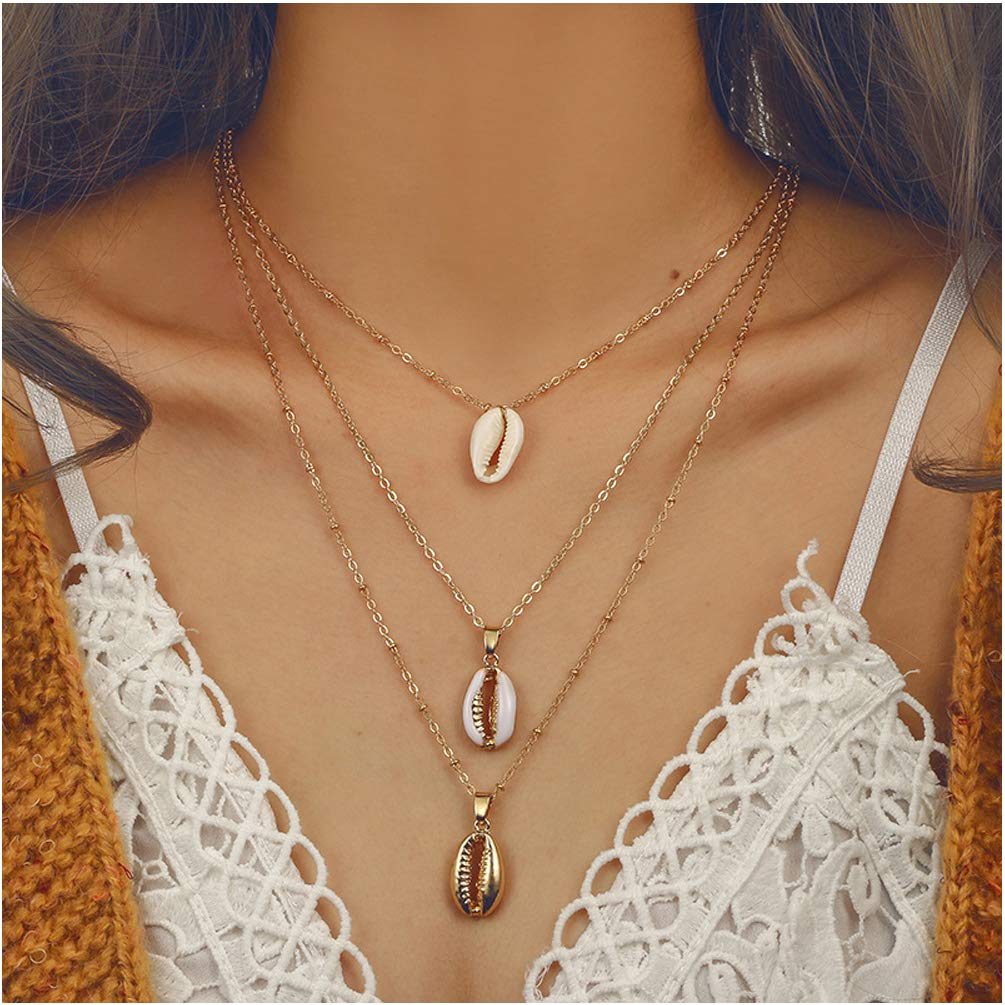 Bracet  — Bohemian Sea Shell Pendant Chokers Necklaces Multi Layer Conch Necklace Collar —  $9.99