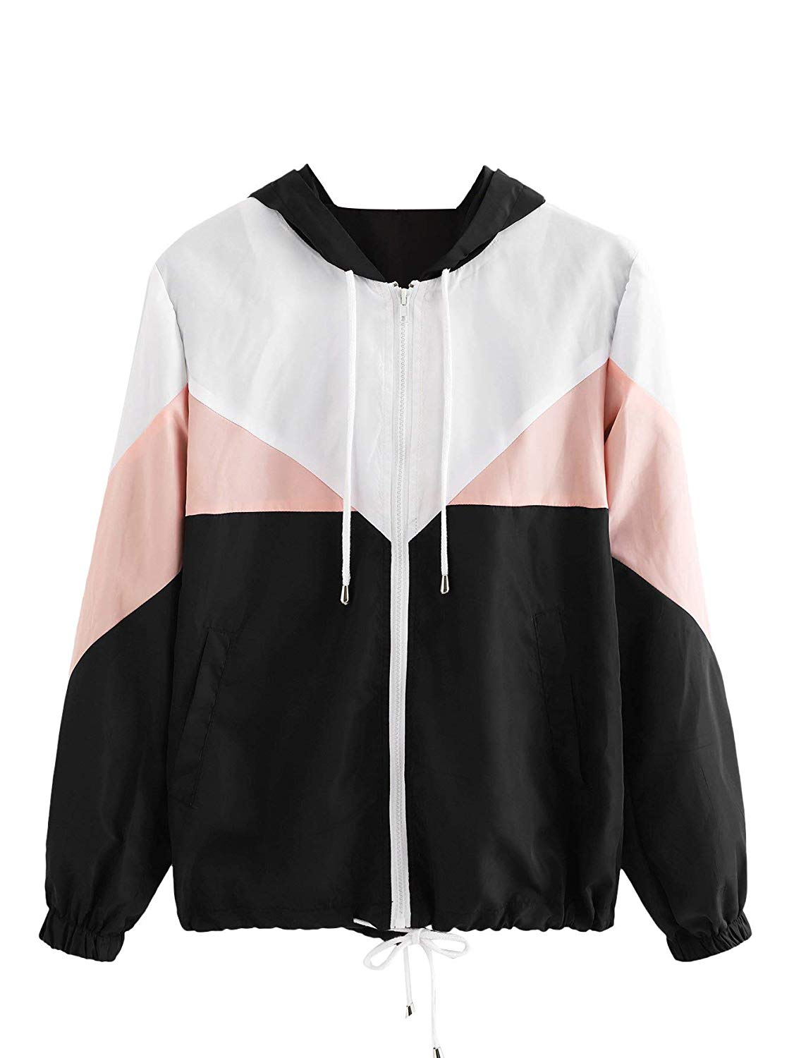 Milumia  — Women's Color Block Drawstring Hooded Zip Up Sports Jacket Windbreaker —  $20.99
