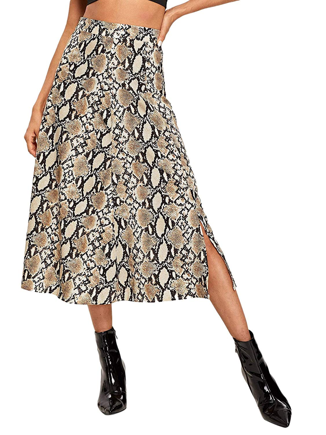 WDIRARA  — Women's Vintage Snake Skin Mid Waist Long Length Animal Print Skirt —  $16.99