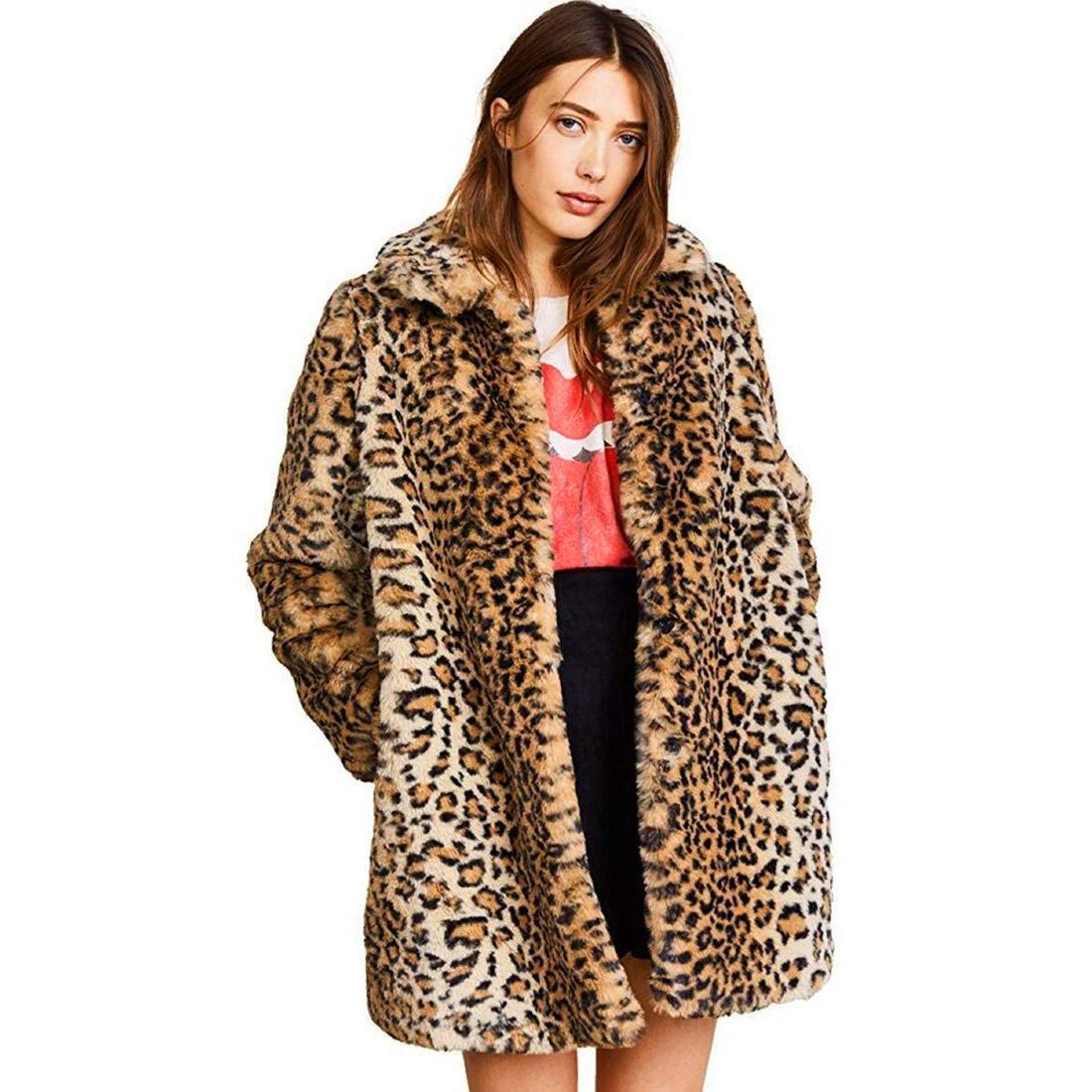Comeon  — Warm Long Sleeve Parka Faux Fur Coat Overcoat Fluffy Top Jacket Leopard Brown —  $38.99