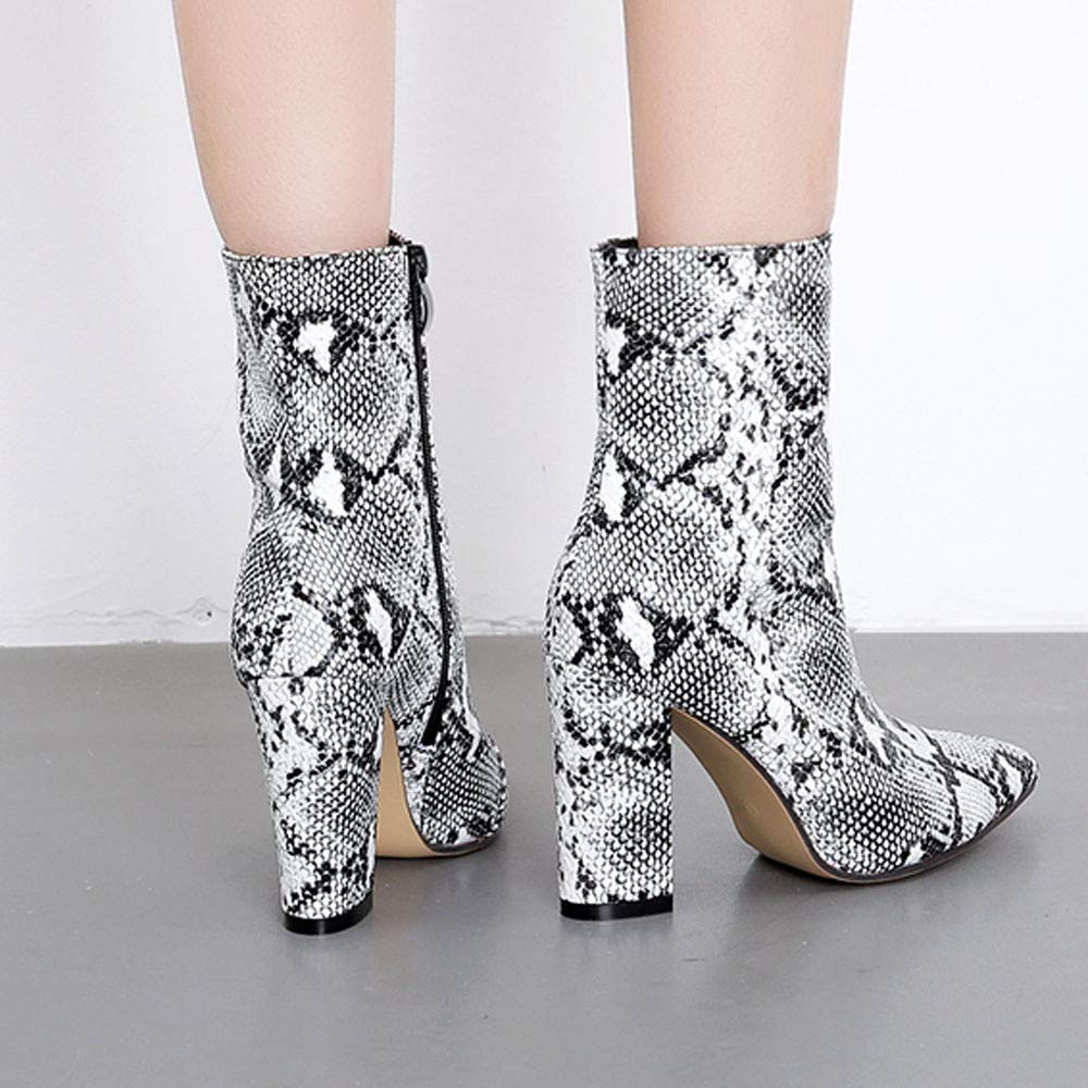 Pocciol  — Women Shoes Boots Snakeskin Pattern Thick Pointed Toe —  $19.99