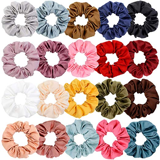 Chloven  — 20 Colors Large Satin Hair Scrunchies —  $12.99