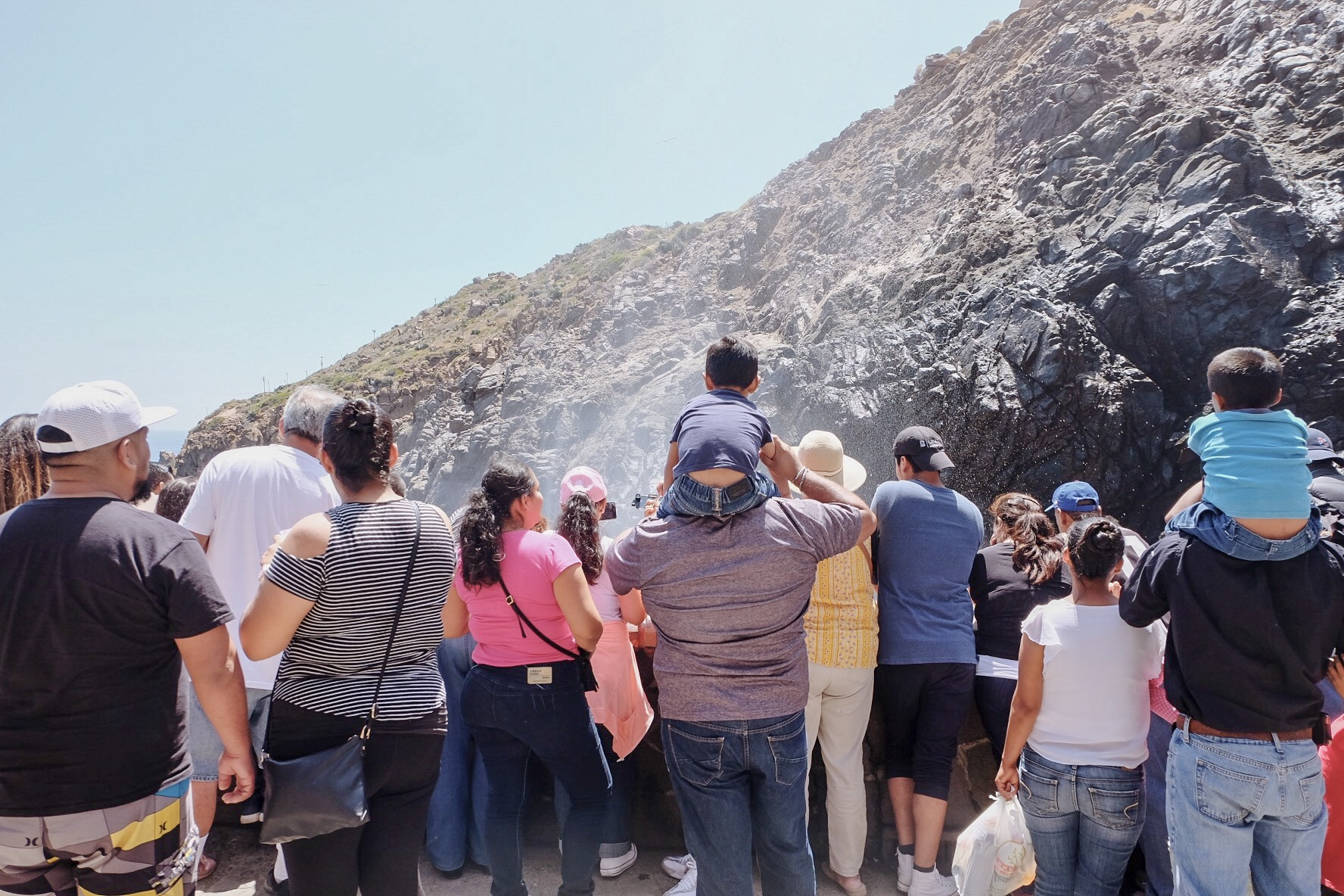 The Crowd Gathering Around La Bufadora