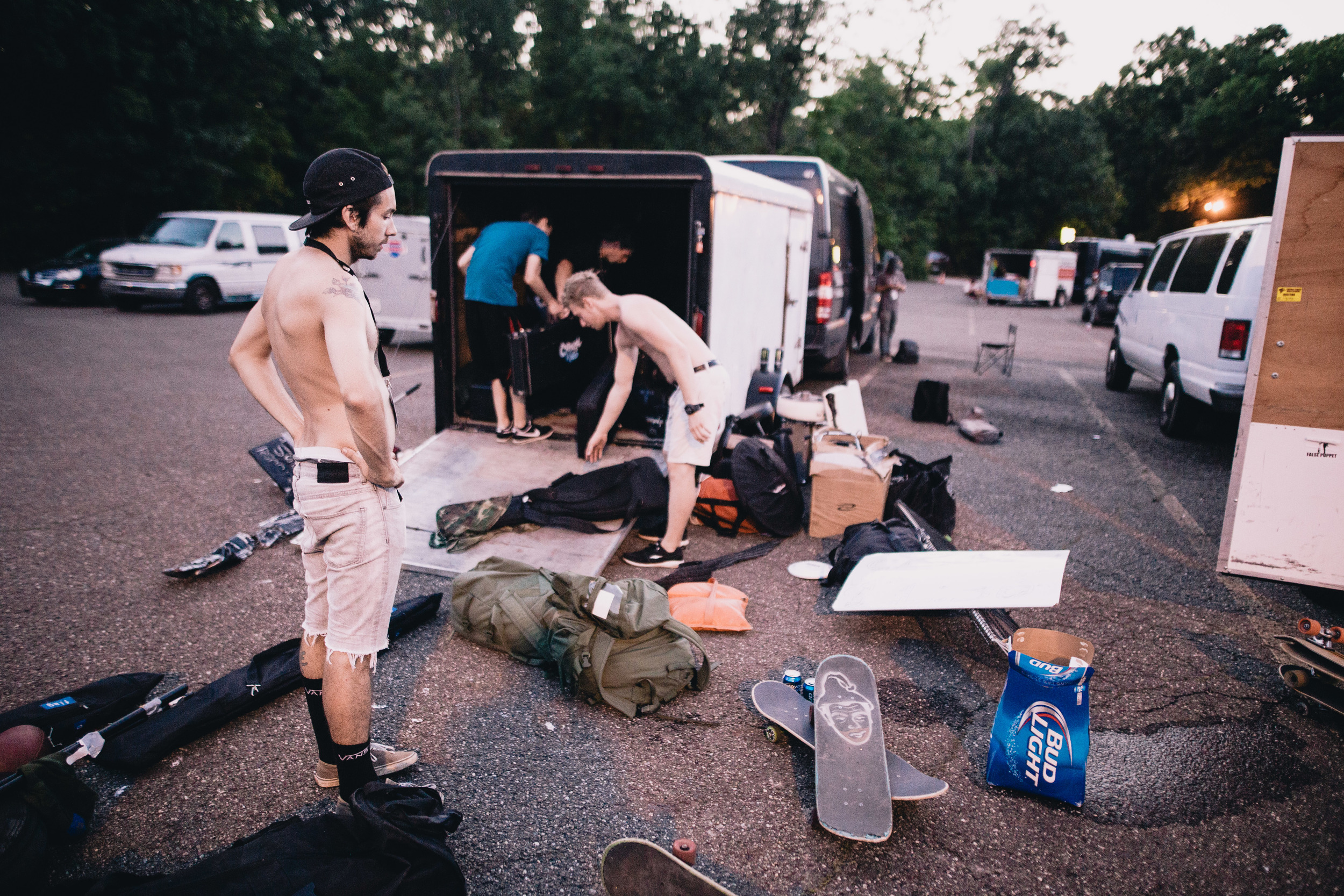 Typical scene outside the van after loading out.