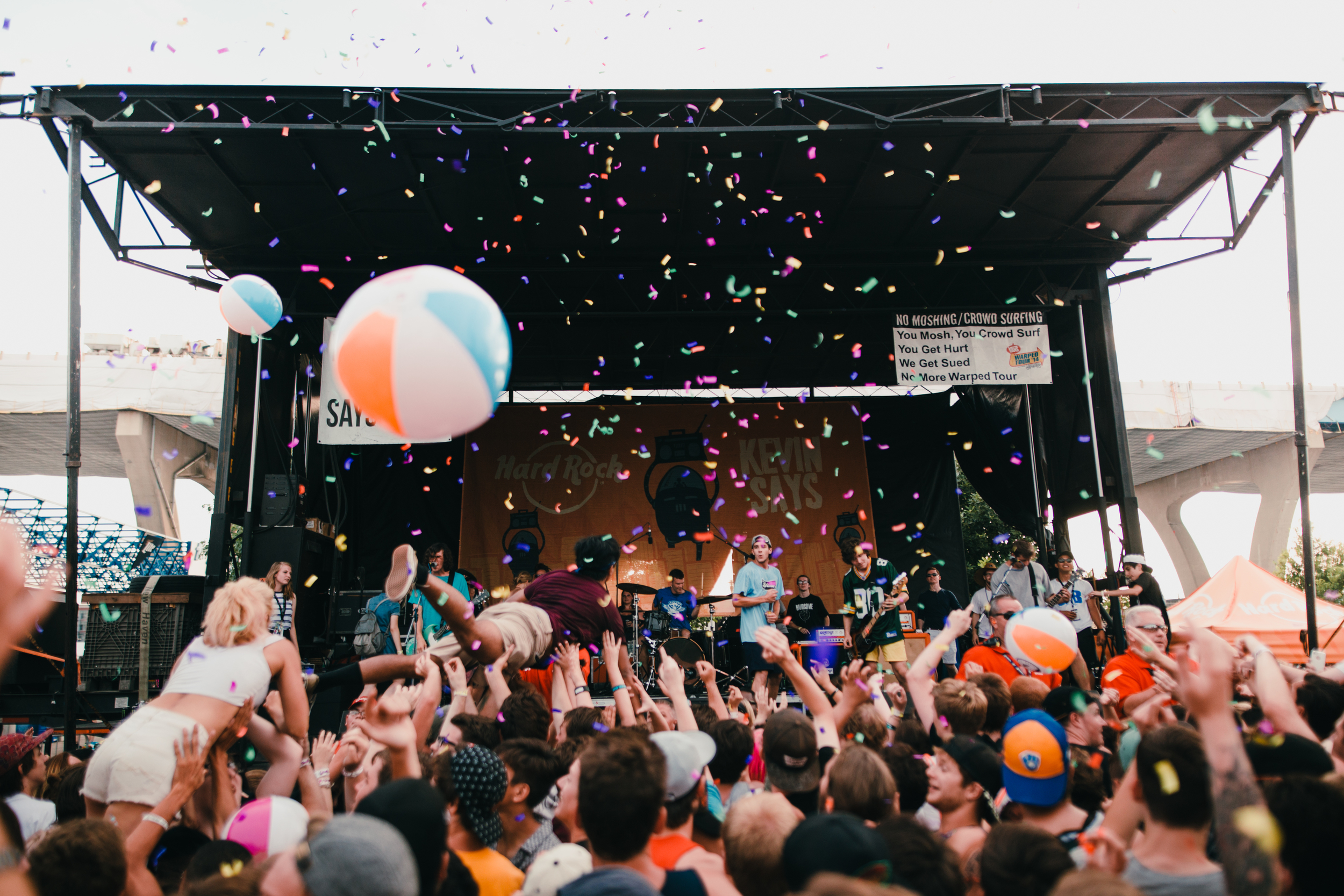 So my friend Jake who had been helping with this stage on Warped let me know one song into Knuckle Pucks set that he had bought these confetti blasters and was going to pop them on song three. So I weaseled my way into the crowd and got this shot which was one of my favorite of tour.
