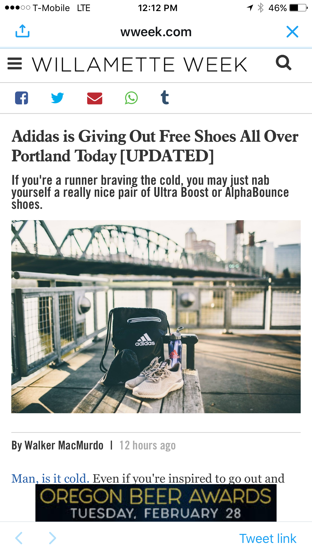 adidas Running in Willamette Weekly:#WhyIRunPortland Campaign - January 2017