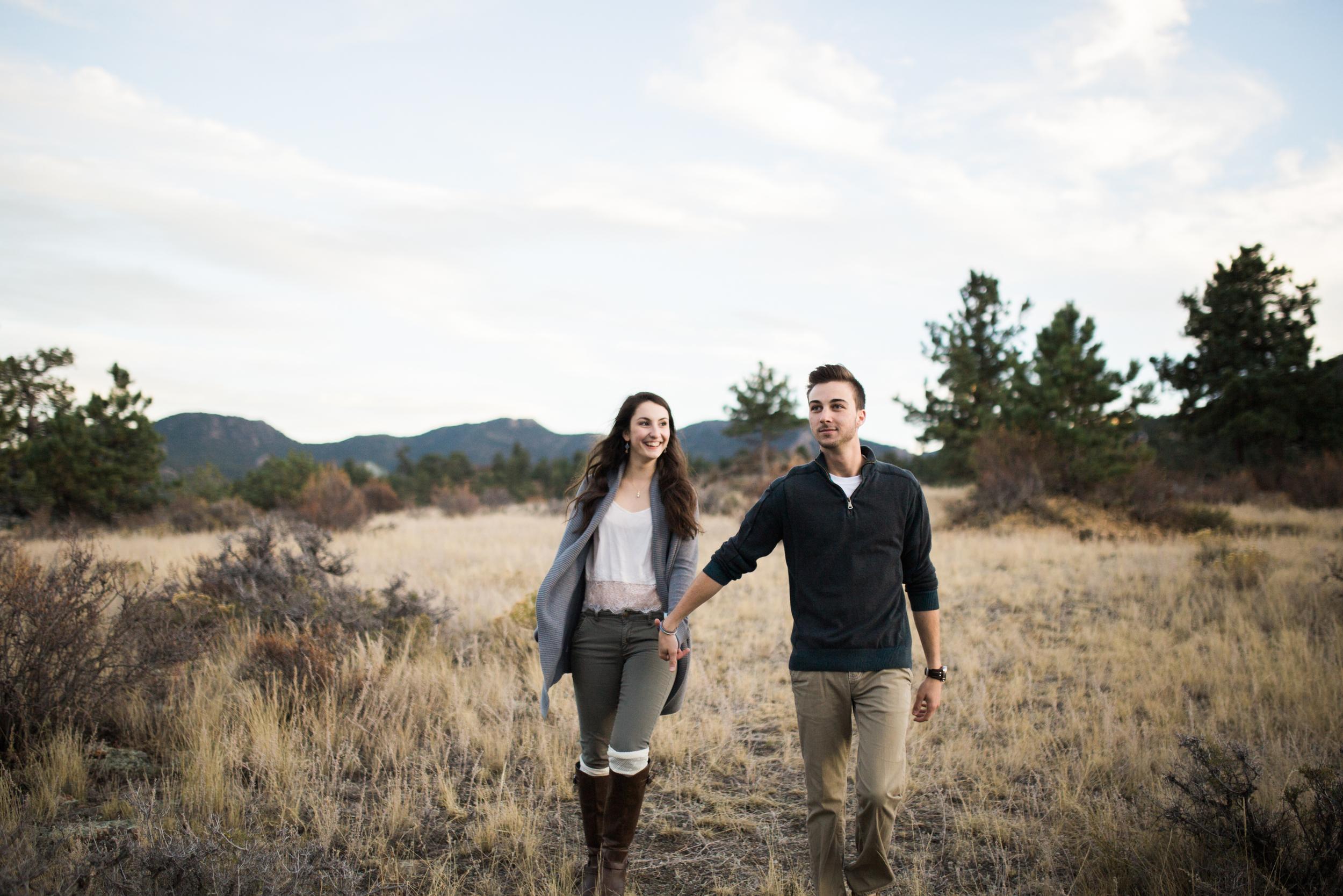 young couple engagement photography Estes Park