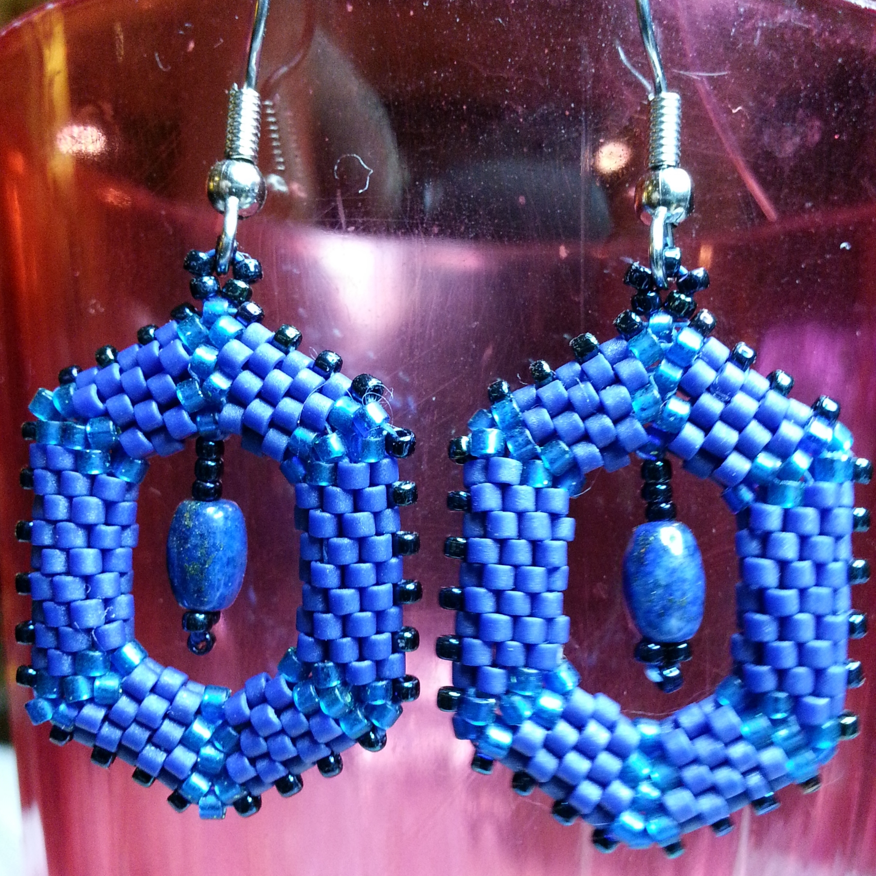 shaped peyote hex earrings with lapis.jpg