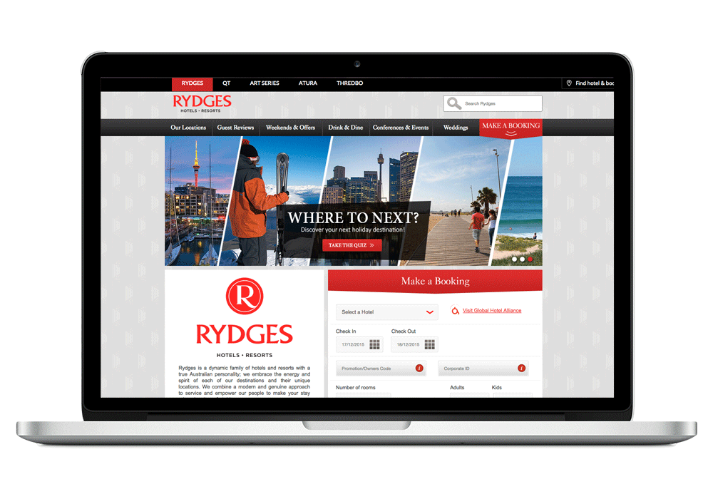 Rydges Hotels -  Graphic Design, Copywriting, SEO, PPC, Retargeting, Display Advertising, Email Marketing, Social Media