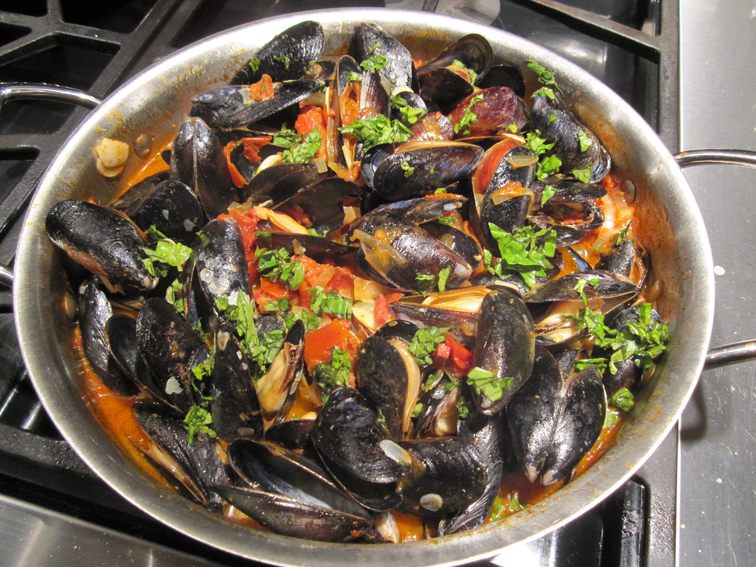 Mussels Marinara with Spanish Chorizo.