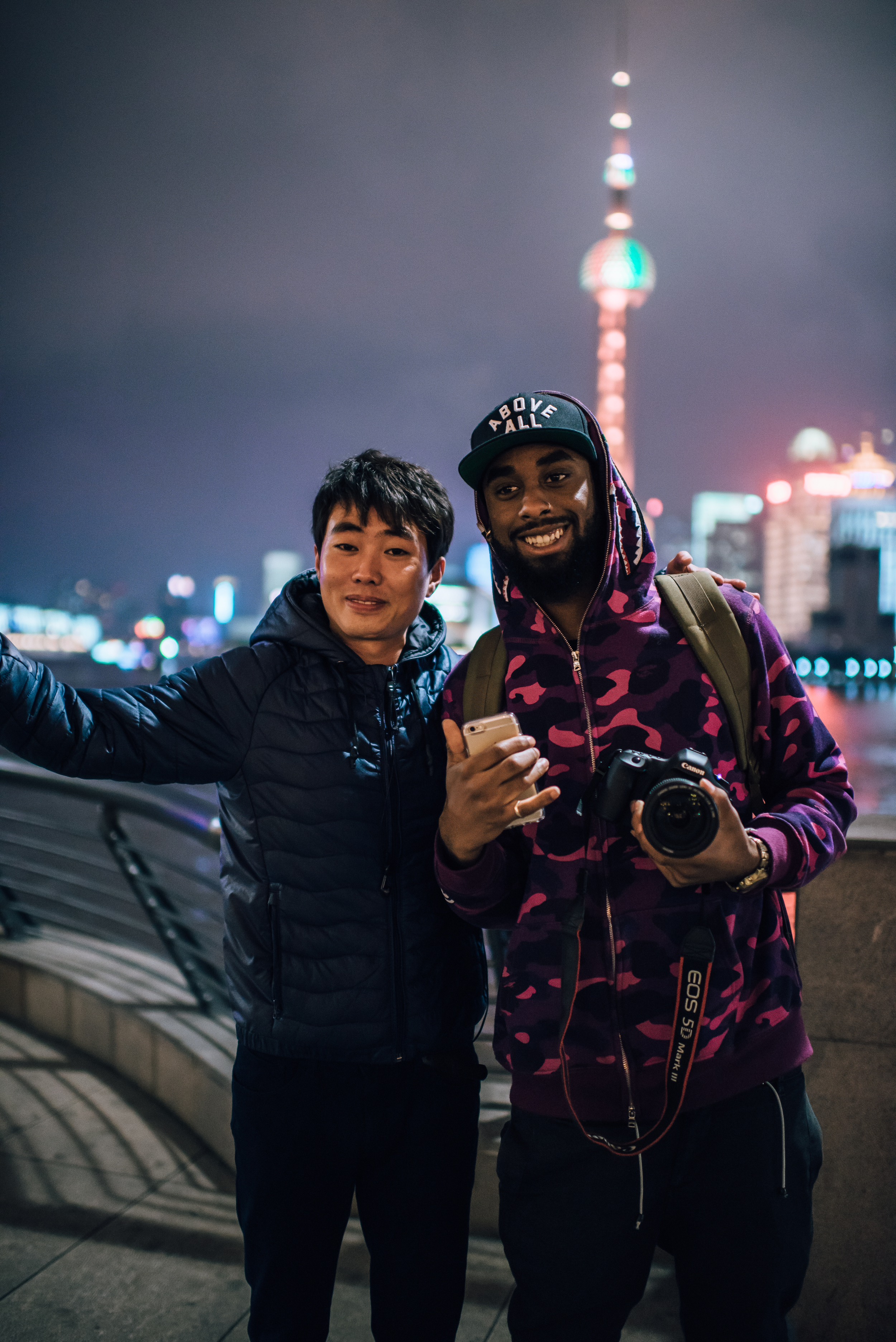 People in Shanghai don't see people like Noah often. At least four people wanted photos.