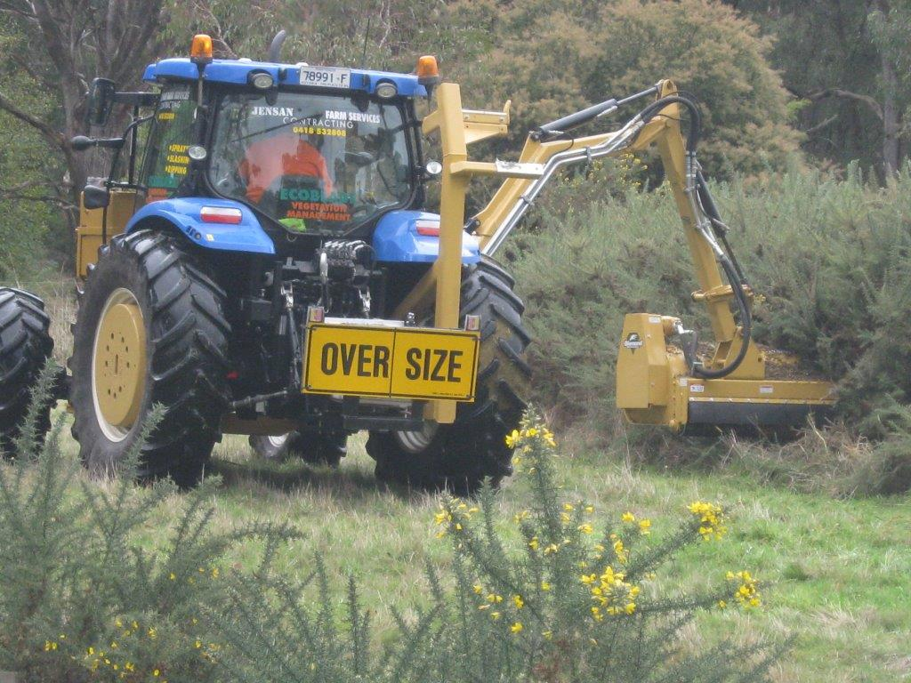 7 metre Reach-Arm Diamond mulching unit, ideal for gorse and other woody species along road edges, creek lines, fence lines.This unit also has an Ecoblade 52 inch cut available.