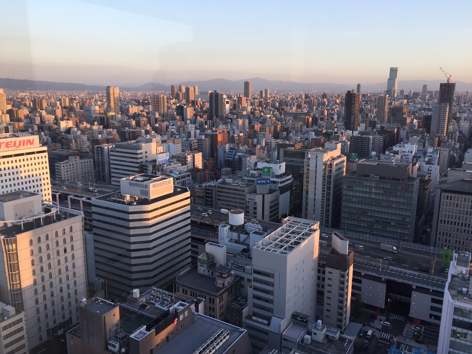 Overlooking the city from the JETRO office in downtown Osaka.