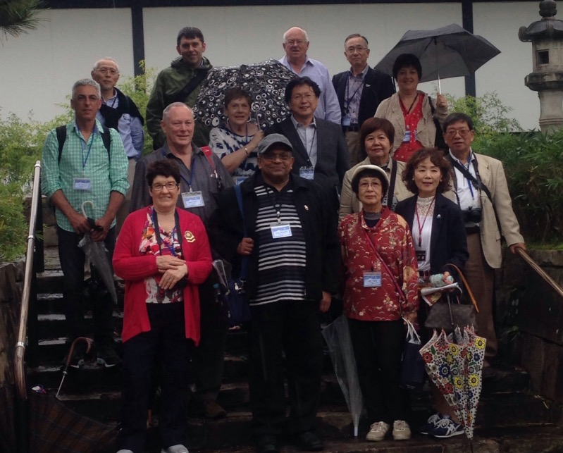 Minoh Art Association members showing the group around Expo Park just out of Minoh